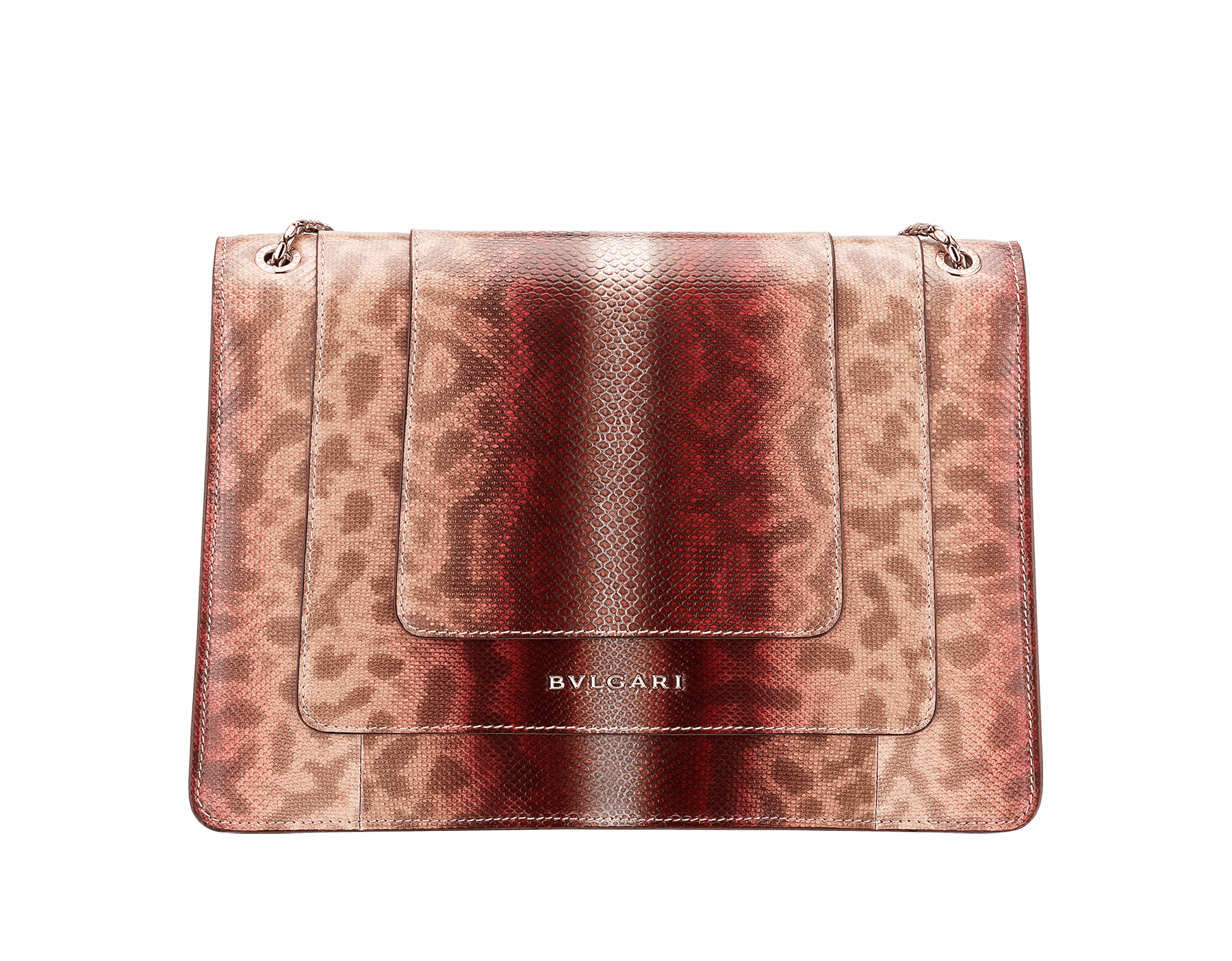 Serpenti Forever shoulder bag in rosa di francia Sahara karung skin. Iconic snakehead closure in light gold plated brass embellished with roman garnet and black enamel and black onyx eyes . 289015 image 3