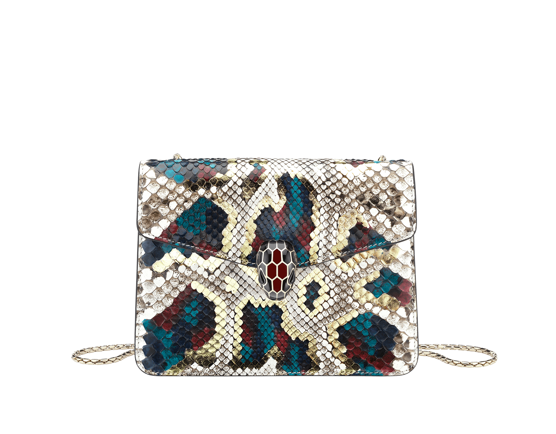 "Borsa a tracolla ""Serpenti Forever"" in pitone multicolore ""Magic Chromaline"". Iconica chiusura ""Serpenti"" in ottone placcato oro chiaro con squame in smalto bianco e nero e occhi in onice nera. 422-Pc image 1"