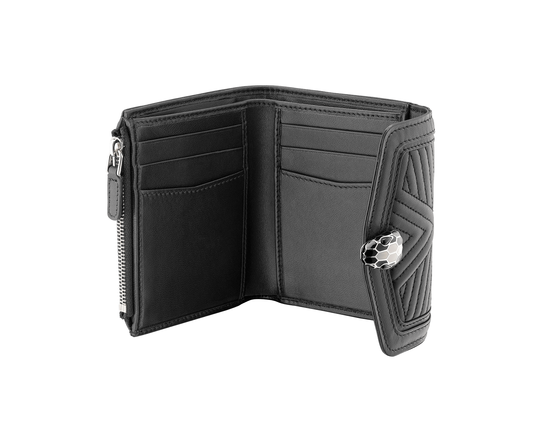 Serpenti Diamond Blast compact wallet in black quilted nappa leather. Iconic snakehead stud closure in black and white enamel, with black onyx eyes. 287596 image 2