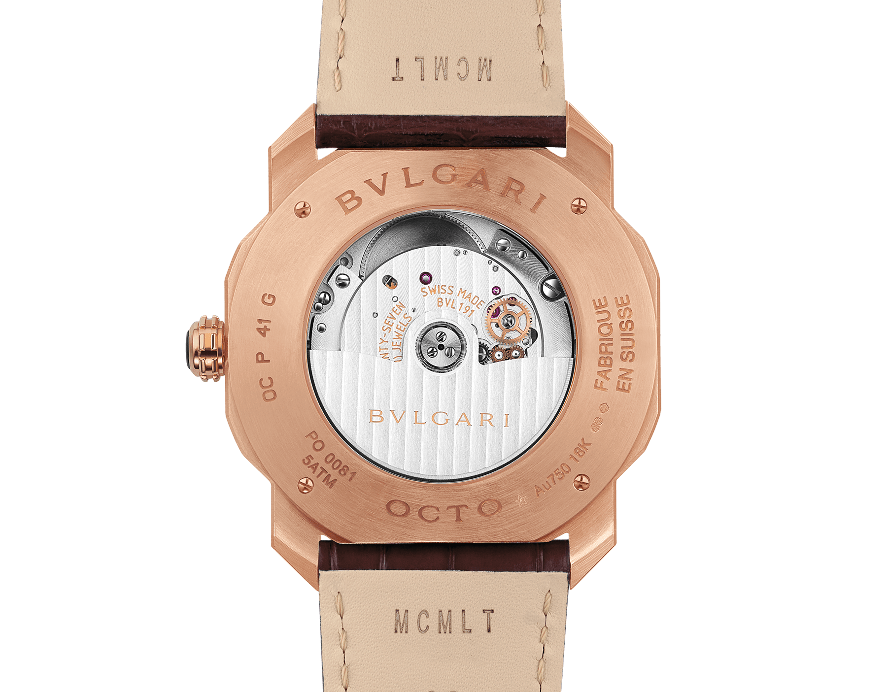 Octo Roma watch with mechanical manufacture movement, automatic winding, 18 kt rose gold case, dark brown lacquered dial and brown alligator bracelet. 102702 image 4