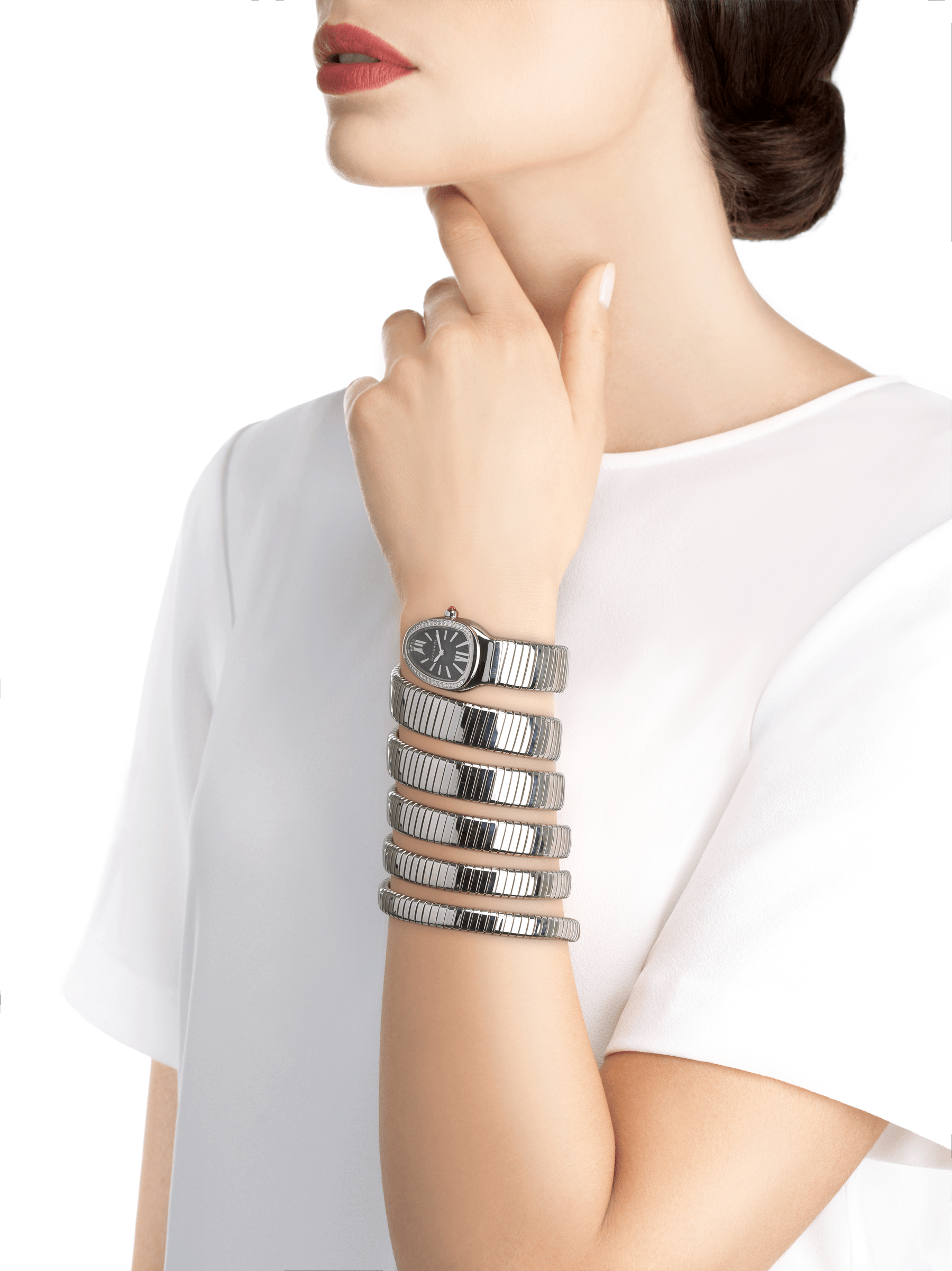 Serpenti Tubogas five-spiral watch with stainless steel case set with brilliant cut diamonds, black opaline dial and stainless steel bracelet. 102736 image 4