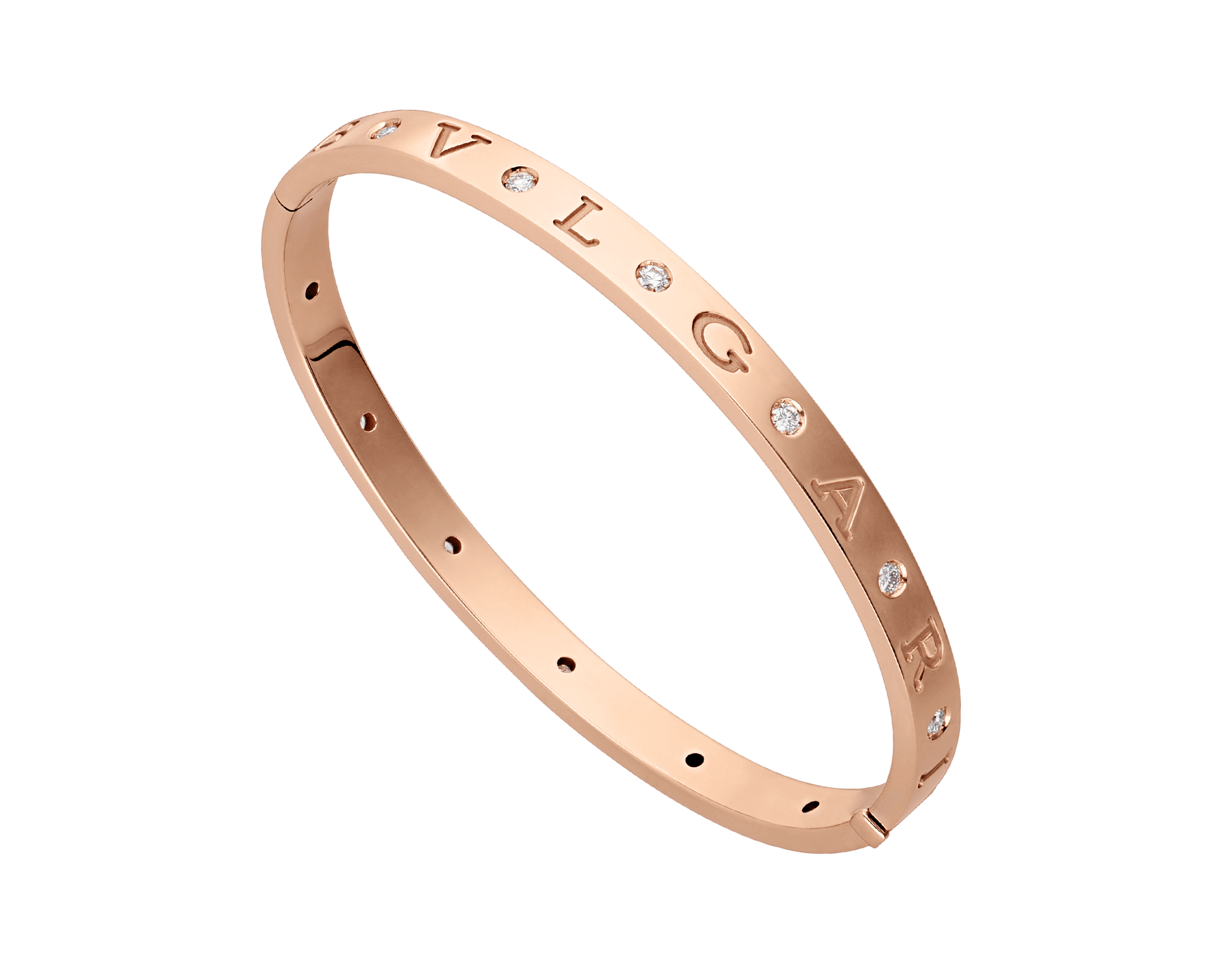 BVLGARI BVLGARI 18 kt rose gold bangle bracelet set with twelve diamonds. BR858007 image 1