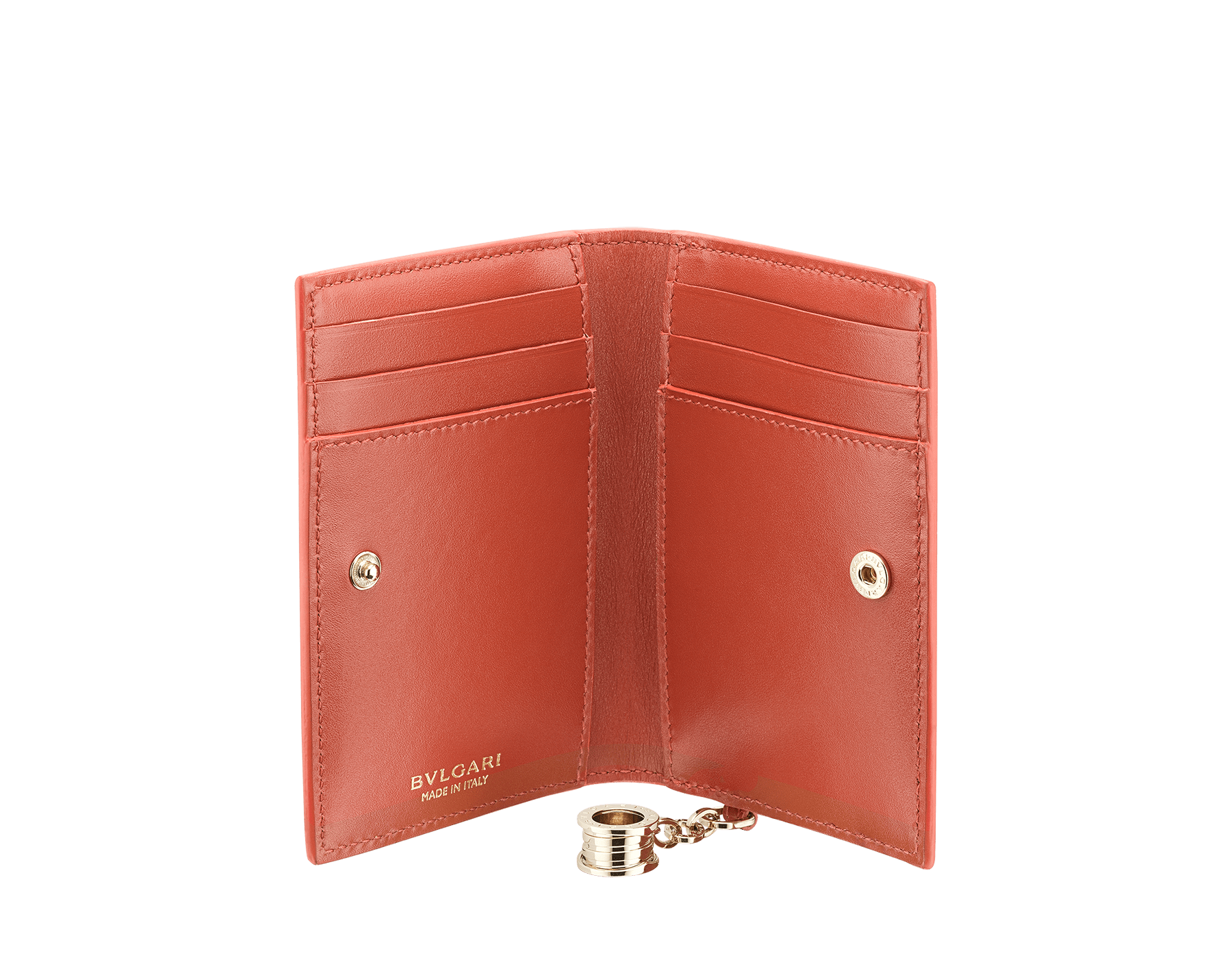 B.zero1 folded credit card holder in rosa di francia and imperial topaz goatskin. Iconic B.zero1 charm in light gold plated brass. 289069 image 2