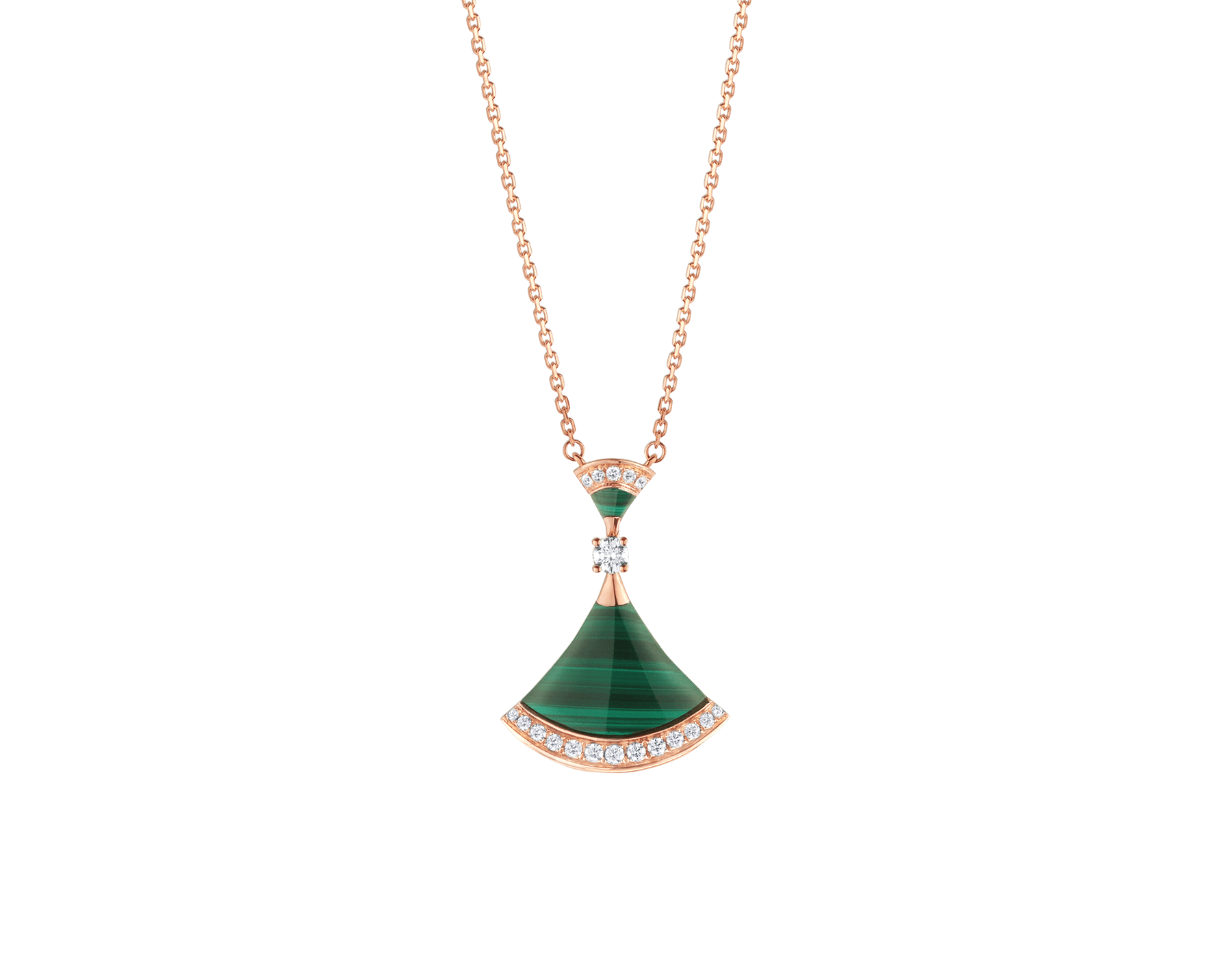 DIVAS' DREAM necklace in 18 kt rose gold with pendant set with a diamond, malachite elements and pavé diamonds. 351143 image 1