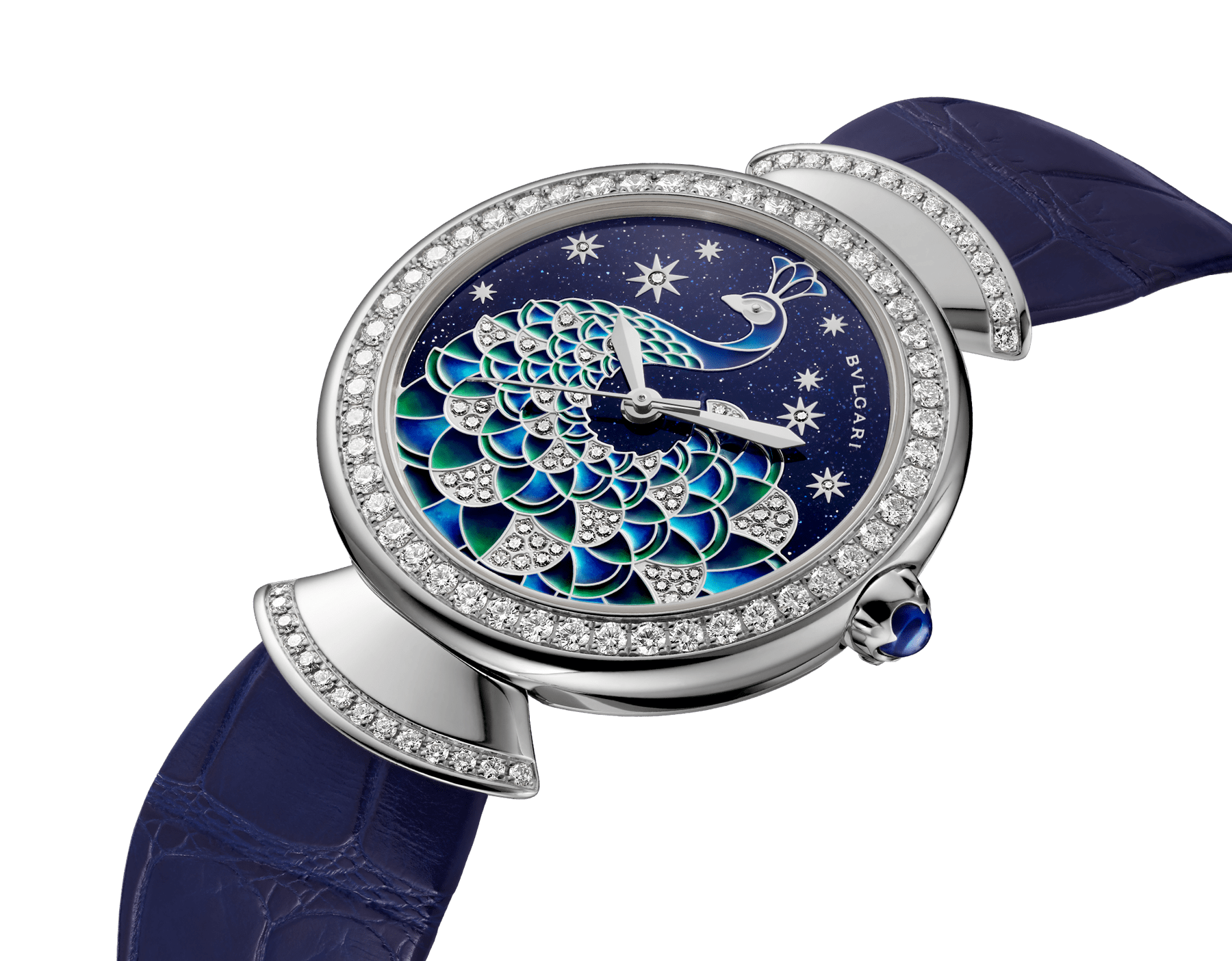 DIVAS' DREAM watch with 18 kt white gold case set with brilliant-cut diamonds, aventurine dial with hand-painted peacock set with diamonds and dark blue alligator bracelet 102740 image 2