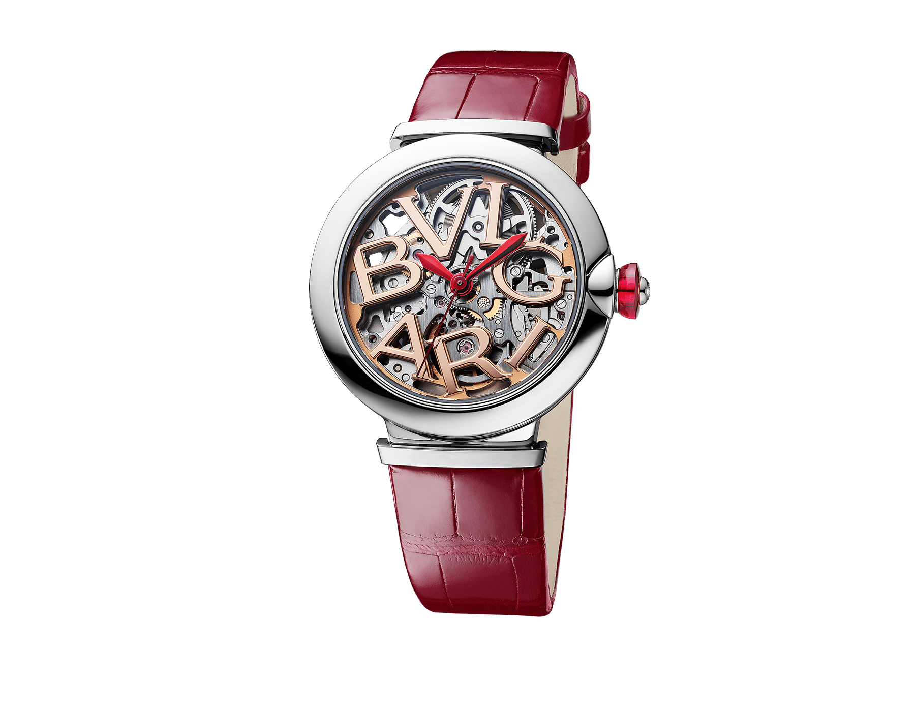 LVCEA Skeleton watch with mechanical manufacture movement, automatic winding, stainless steel case, openwork BVLGARI logo dial and red alligator bracelet 102879 image 2
