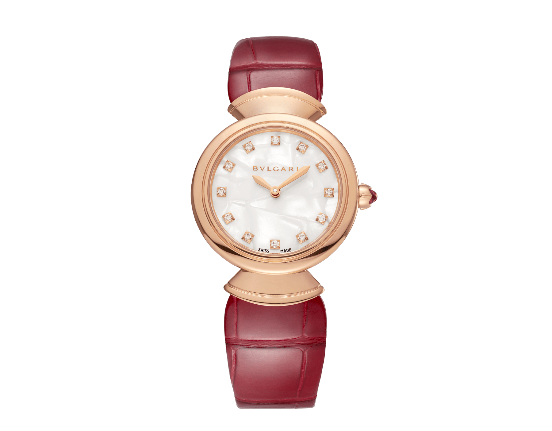 DIVAS' DREAM watch with 18 kt rose gold case, white acetate dial set with diamond indexes and red alligator bracelet. 102840 image 1
