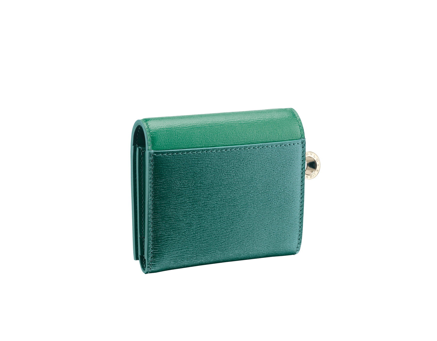 B.zero1 super compact wallet in emerald green and forest emerald goatskin. Iconic B.zero1 charm in light gold plated brass. 289138 image 3