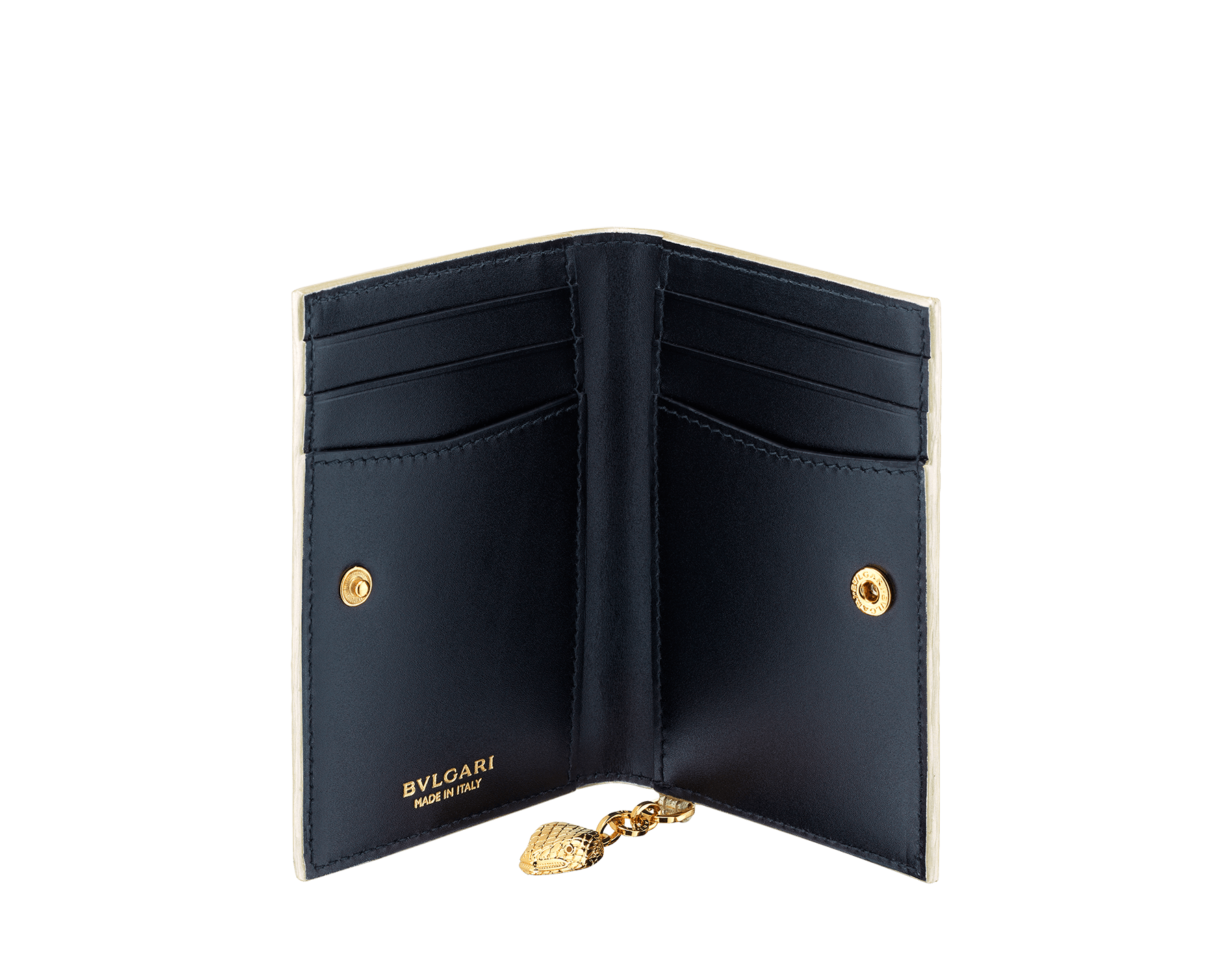 """Serpenti Forever"" folded card holder in ""Molten"" light gold karung skin and black calf leather. New Serpenti head charm in gold-plated brass, finished with red enamel eyes. 290948 image 2"