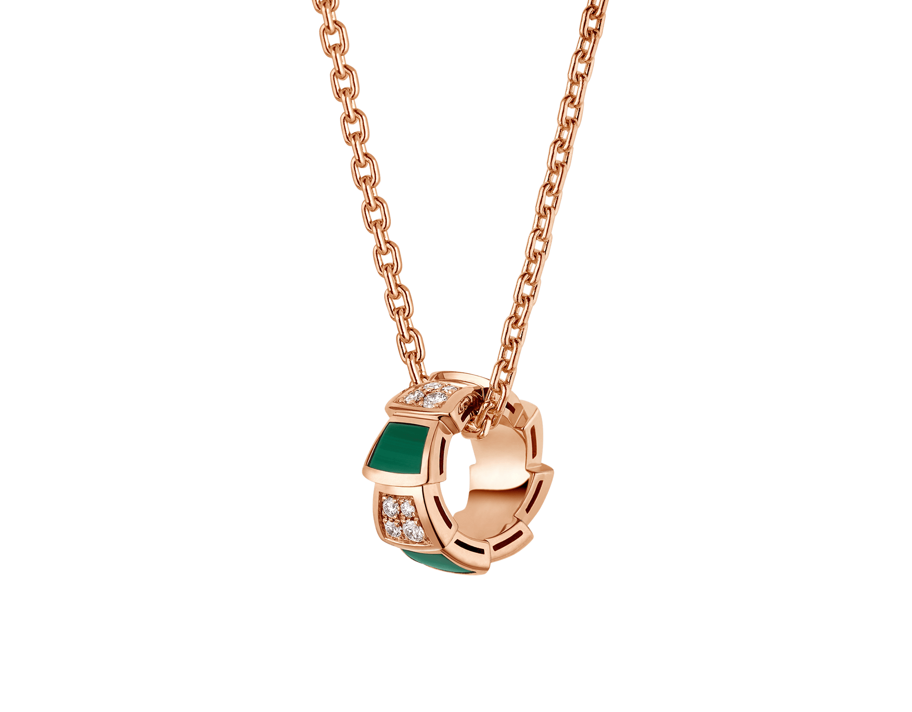 Serpenti Viper 18 kt rose gold necklace set with malachite elements and pavé diamonds on the pendant. 355958 image 1