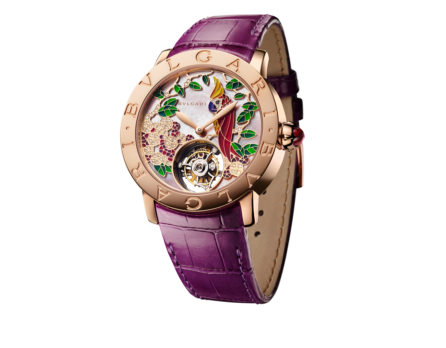 BVLGARI BVLGARI watch with mechanical manufacture movement, automatic winding, see-through tourbillon and sapphire bridge. 18 kt rose gold case, rose mother-of-pearl dial hand-decorated with peinture miniature motifs of a parrot, flowers and leaves, and brilliant parme alligator bracelet 102403 image 1