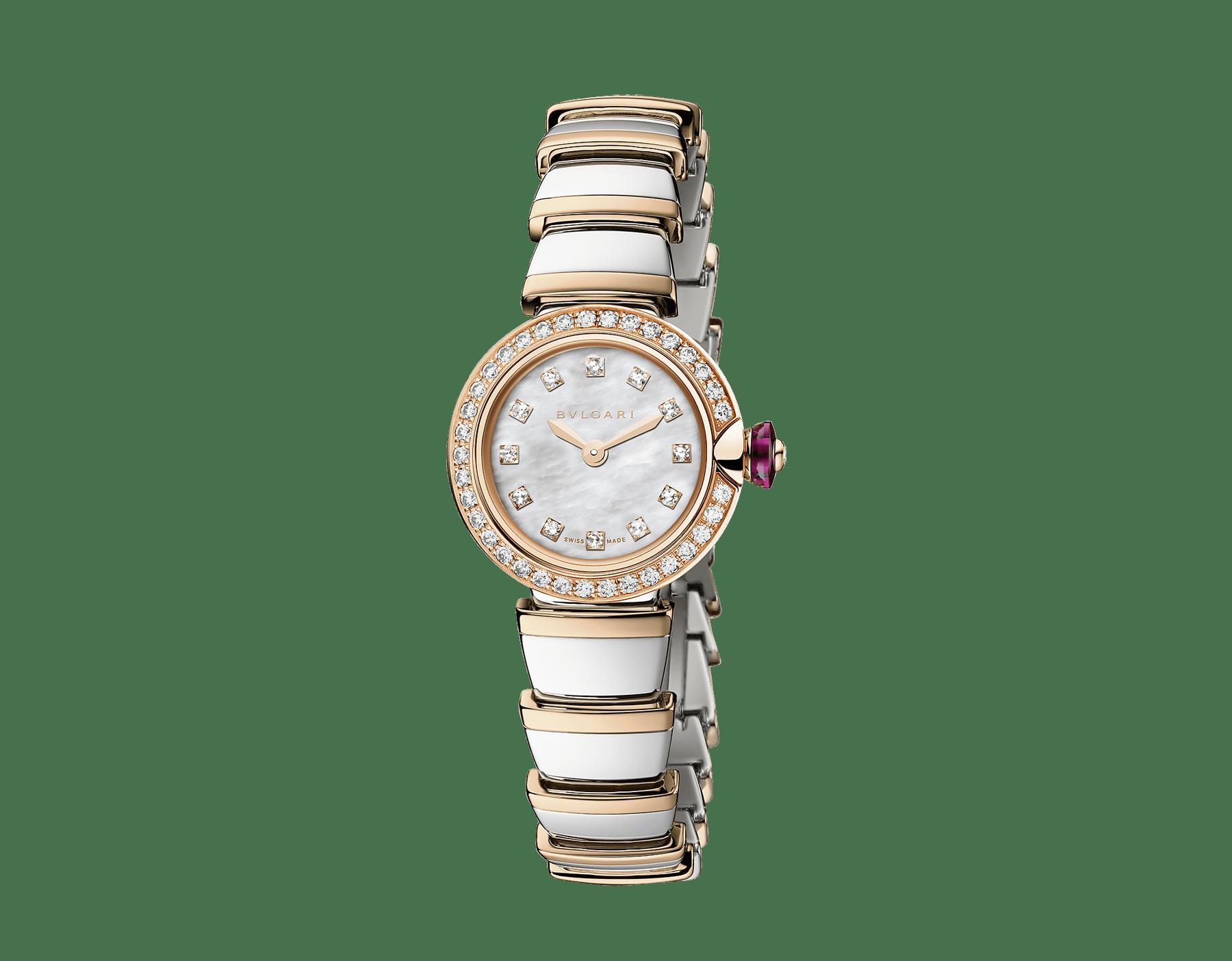 Piccola Lvcea 腕錶,精鋼錶殼,18K 玫瑰金錶圈鑲飾明亮型切割鑽石,白色珍珠母貝錶盤,鑽石時標,18K 玫瑰金和精鋼錶帶。 103049 image 1