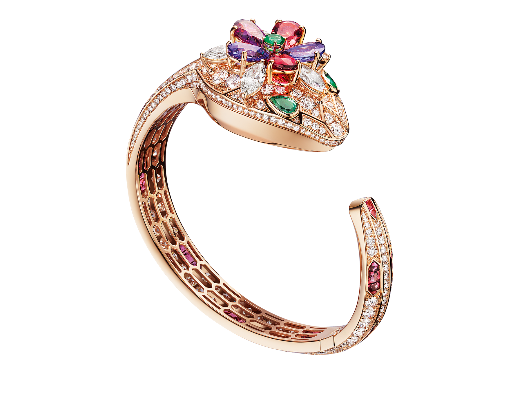 Serpenti Seduttori watch with 18 kt rose gold head set with brilliant cut and navette cut diamonds, pear shaped rubellite, tourmaline, tanzanite and violet garnets, one round cut emerald and two emerald eyes, 18 kt rose gold case, 18 kt rose gold dial set with brilliant cut diamonds, 18 kt rose gold bracelet set with brilliant cut diamonds and baguette tourmalines. 102823 image 1
