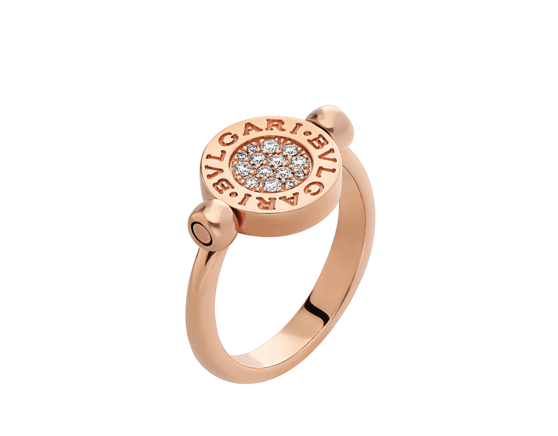 BVLGARI BVLGARI 18 kt rose gold flip ring set with mother-of-pearl and pavé diamonds AN857171 image 1