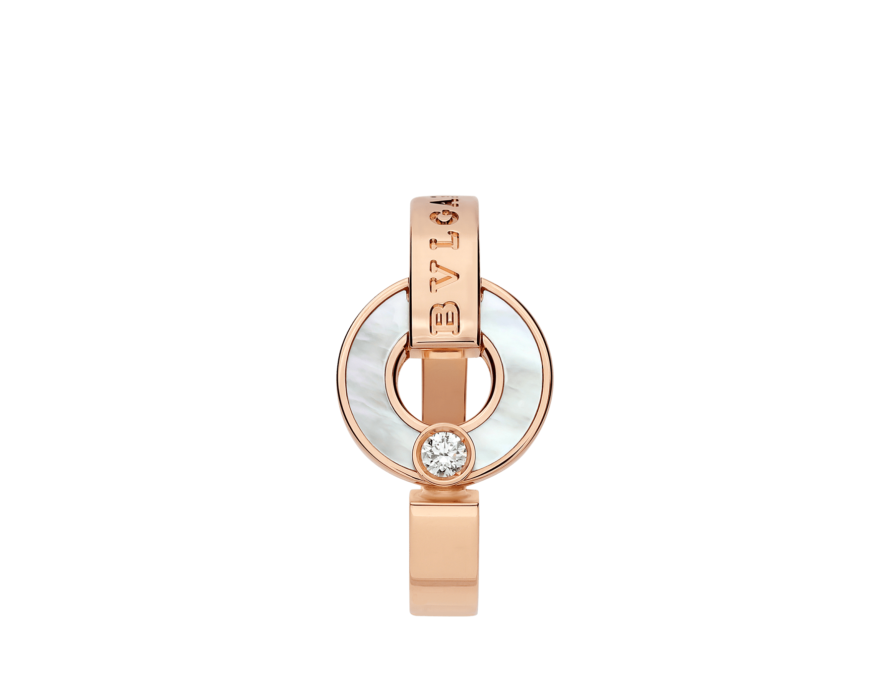 BVLGARI BVLGARI Openwork 18 kt rose gold ring set with mother-of-pearl elements and a round brilliant-cut diamond AN858947 image 2