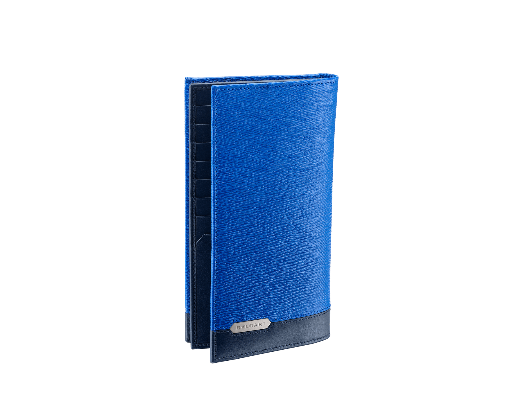 Serpenti Scaglie men's wallet for yen in cobalt tourmaline grazed calf leather with brass and denim sapphire calf leather. Bvlgari logo engraved on the hexagonal scaglie metal plate. 288462 image 1