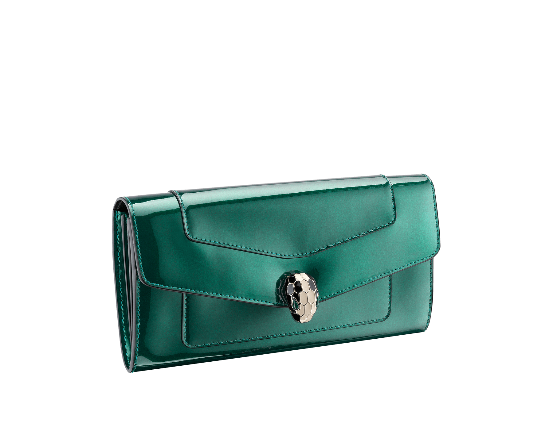 Wallet pochette in forest emerald brushed metallic calf leather and black calf leather with black nappa lining. Brass light gold plated hardware. Serpenti head stud closure in black and white enamel with eyes in green malachite. 283675 image 1