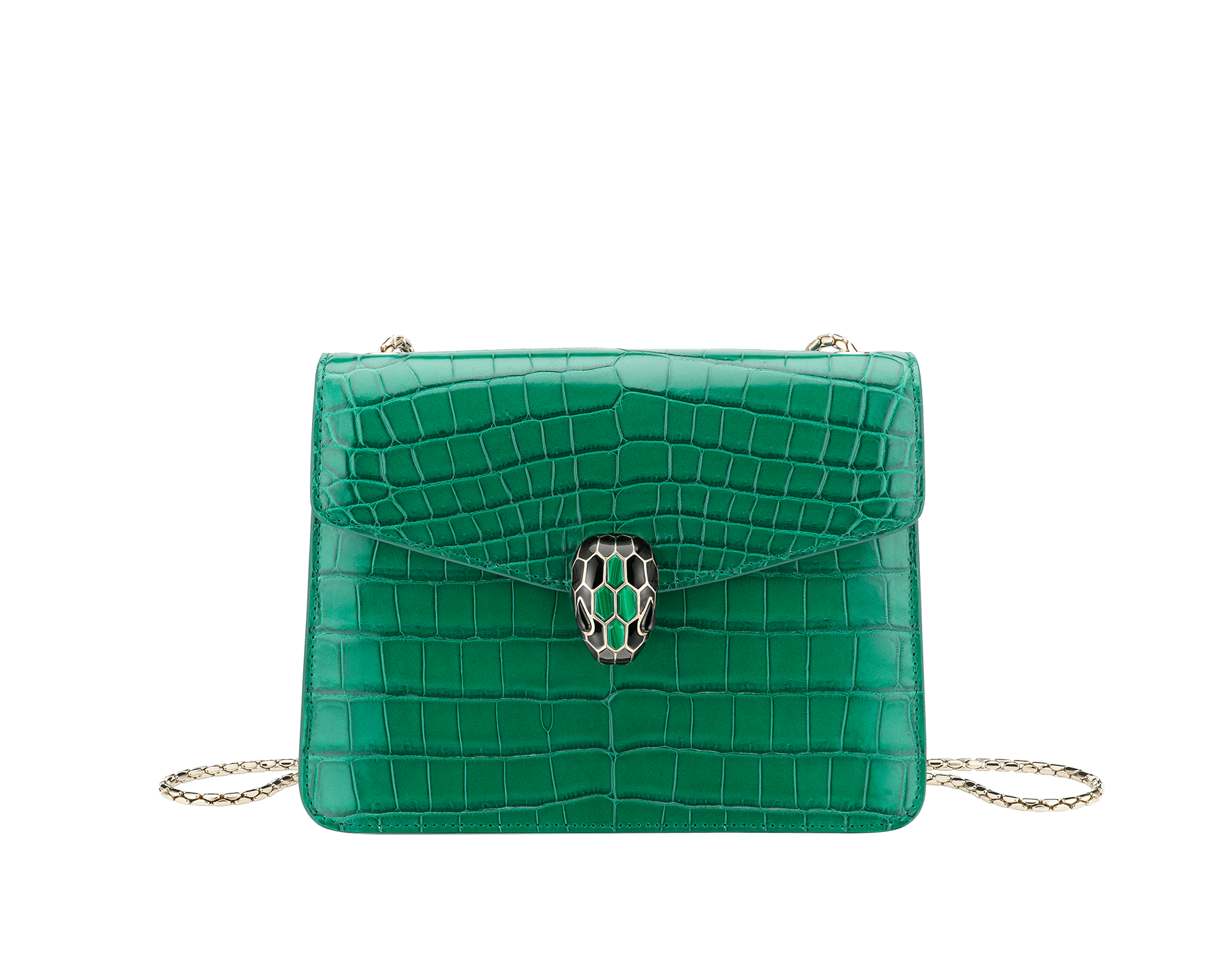 """Serpenti Forever"" crossbody bag in white agate crocodile skin with an iridescent and pearled effect. Iconic snake head closure in light gold plated brass enriched with black enamel and mother-of-pearl scales, and blue lapis lazuli eyes. 422-CR image 1"