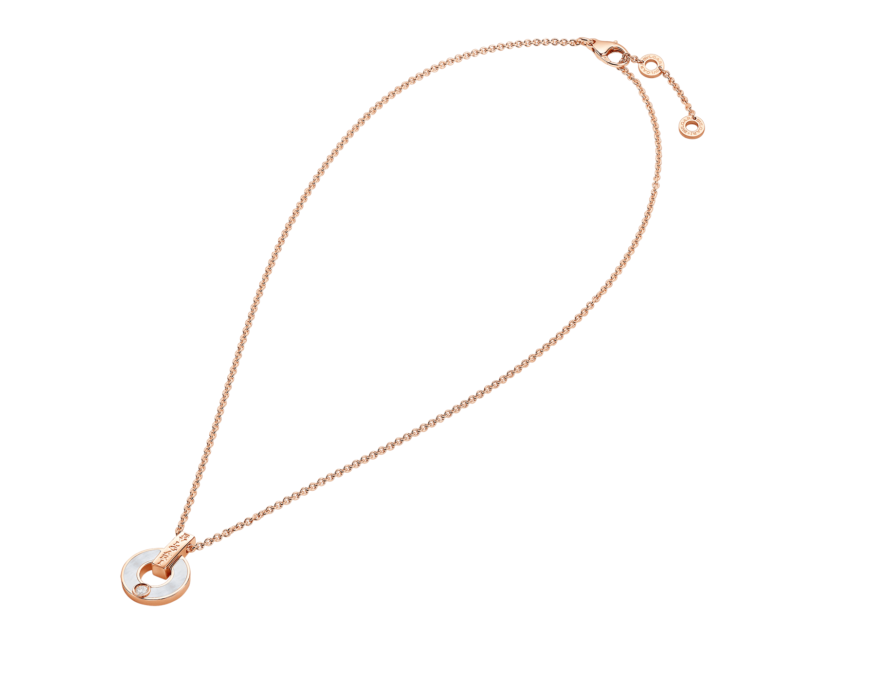 BVLGARI BVLGARI openwork 18 kt rose gold necklace set with mother-of-pearl elements and a round brilliant-cut diamond 357546 image 2