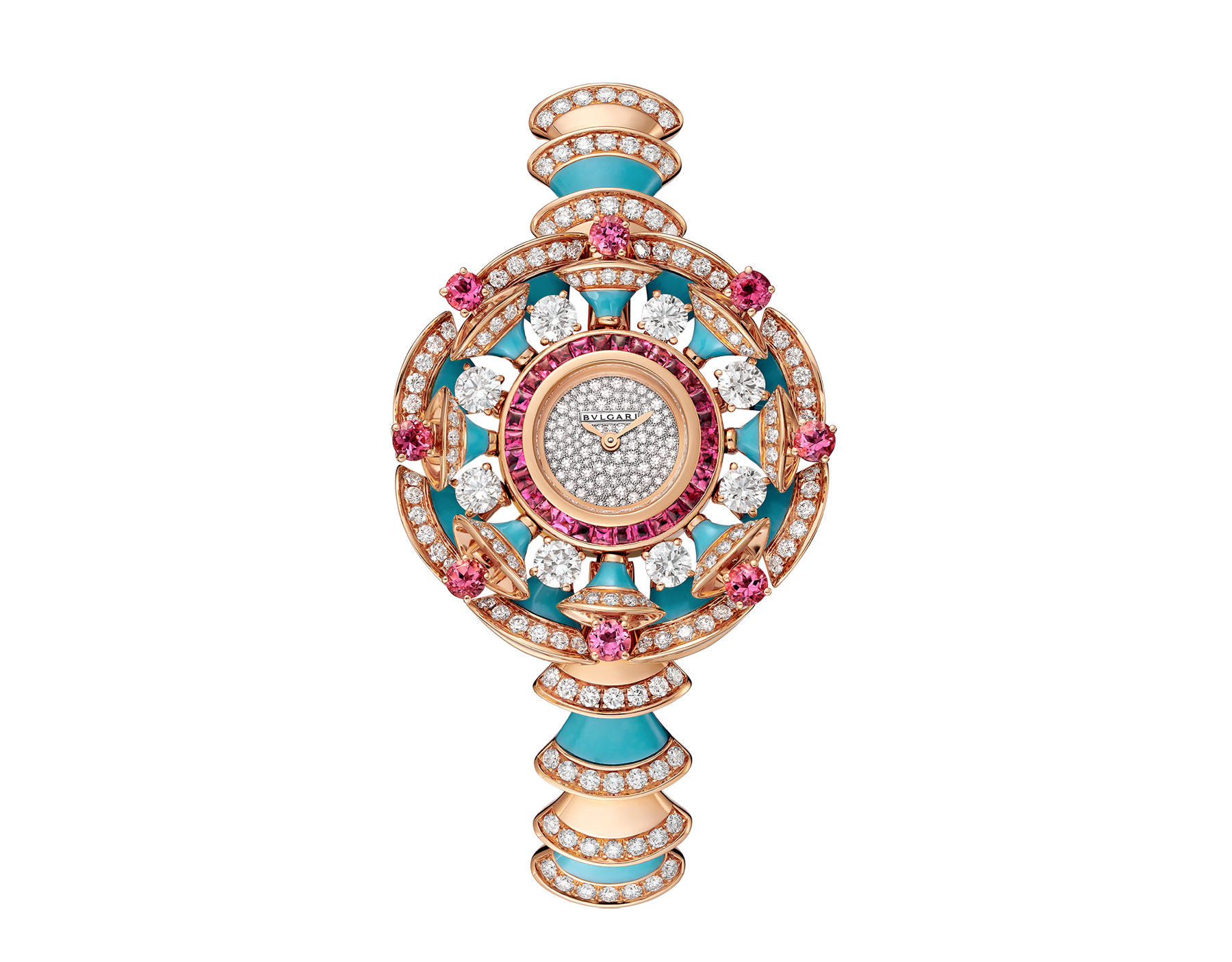 DIVAS' DREAM watch with 18 kt rose gold case set with brilliant-cut diamonds, pink tourmalines and turquoises, snow pavé dial and 18 kt rose gold bracelet set with brilliant-cut diamonds and turquoises 102079 image 1