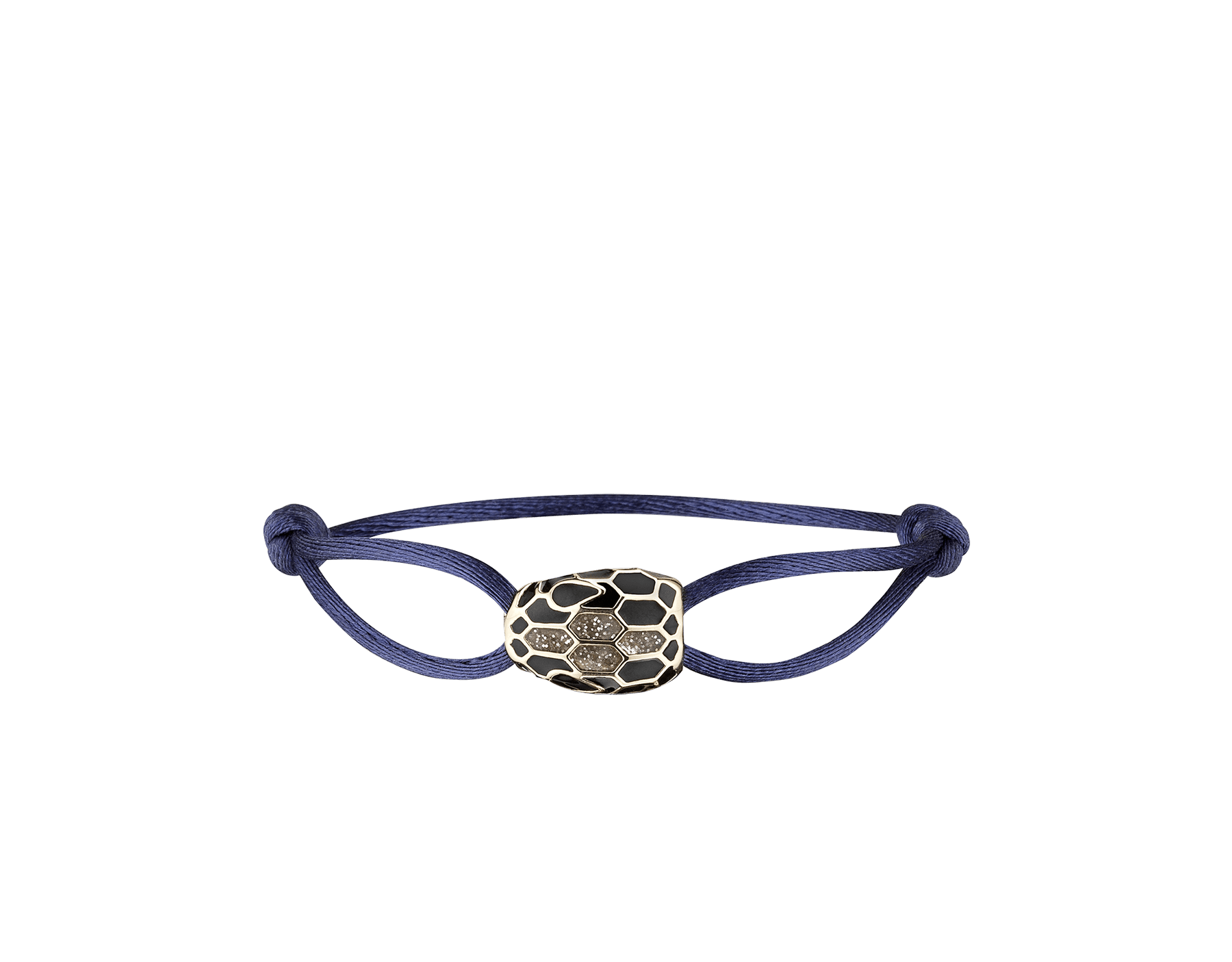 """""""Serpenti Forever"""" bracelet in Mimetic Jade green fabric with a dark ruthenium-plated brass tempting snakehead décor enamelled in black, with seductive black enamel eyes. SERP-STRINGb image 1"""