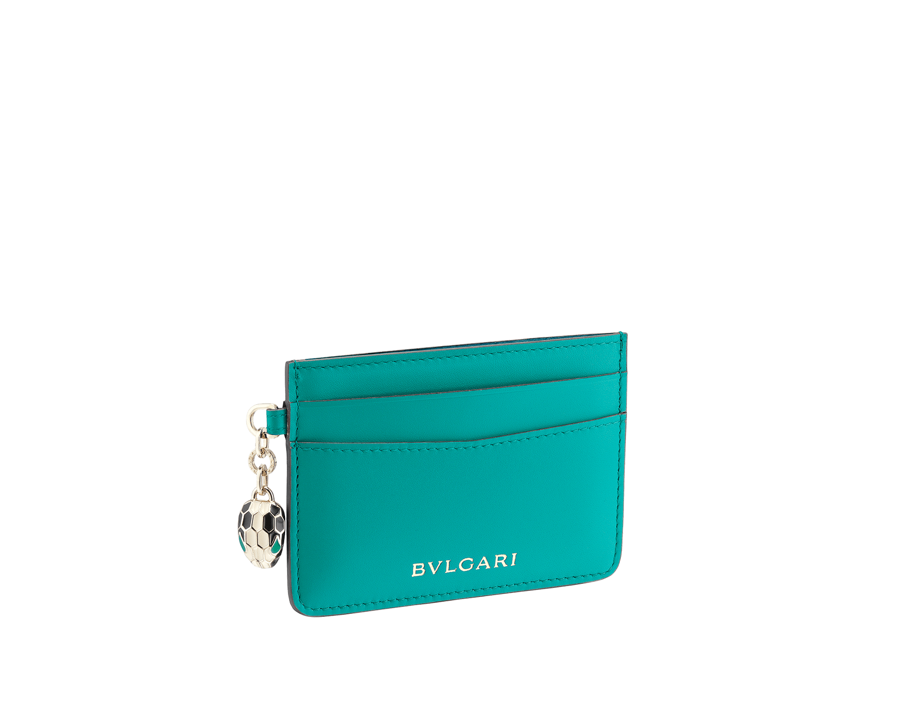 Serpenti Forever credit card holder in tropical tourquoise and deep jade calf leather. Iconic snakehead charm in black and white enamel, with green malachite enamel eyes. 288020 image 1