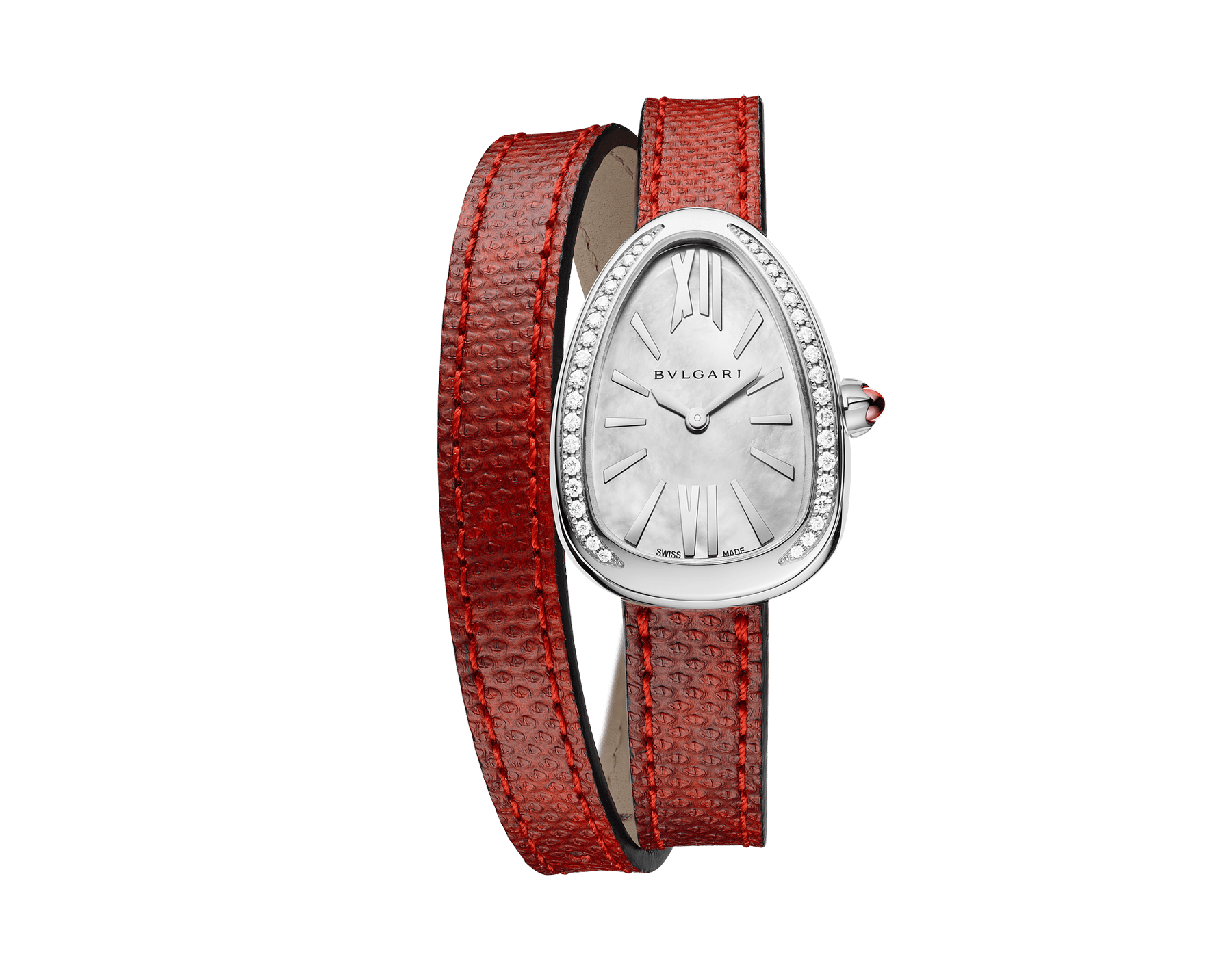 Serpenti watch with stainless steel case set with round brilliant-cut diamonds, white mother-of-pearl dial and interchangeable double spiral bracelet in red karung leather 102920 image 1