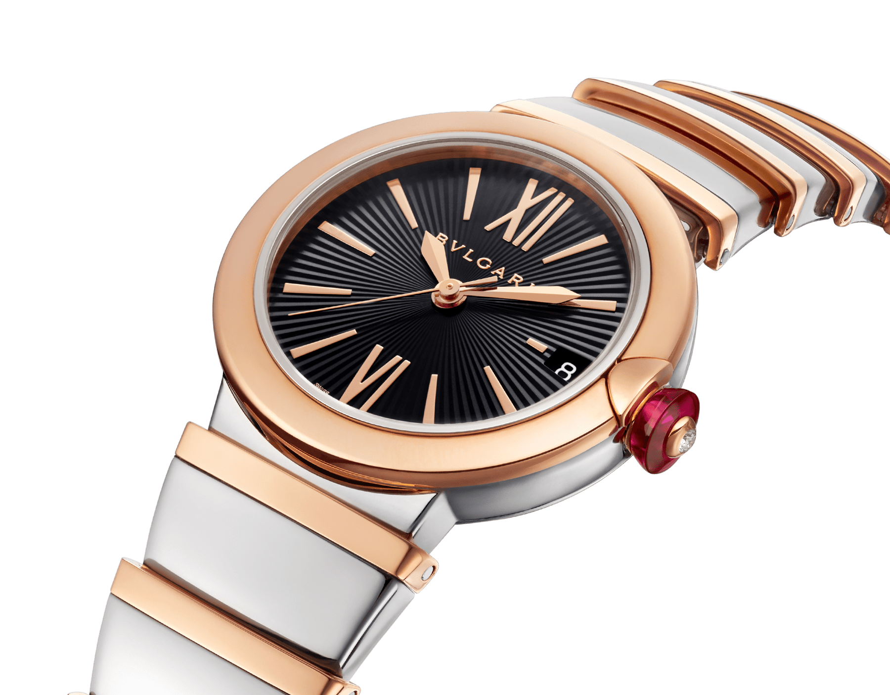 LVCEA watch in 18kt rose gold and stainless steel case and bracelet, with black opaline dial. 102192 image 2