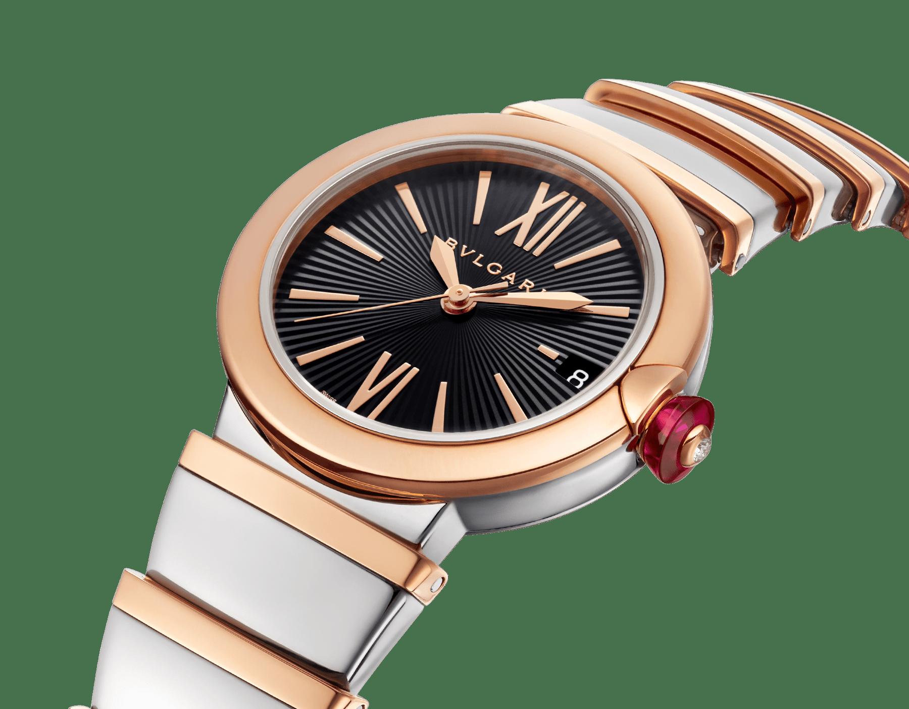 Montre LVCEA avec boîtier et bracelet en or rose 18K et acier inoxydable, cadran en opaline noire. 102192 image 2