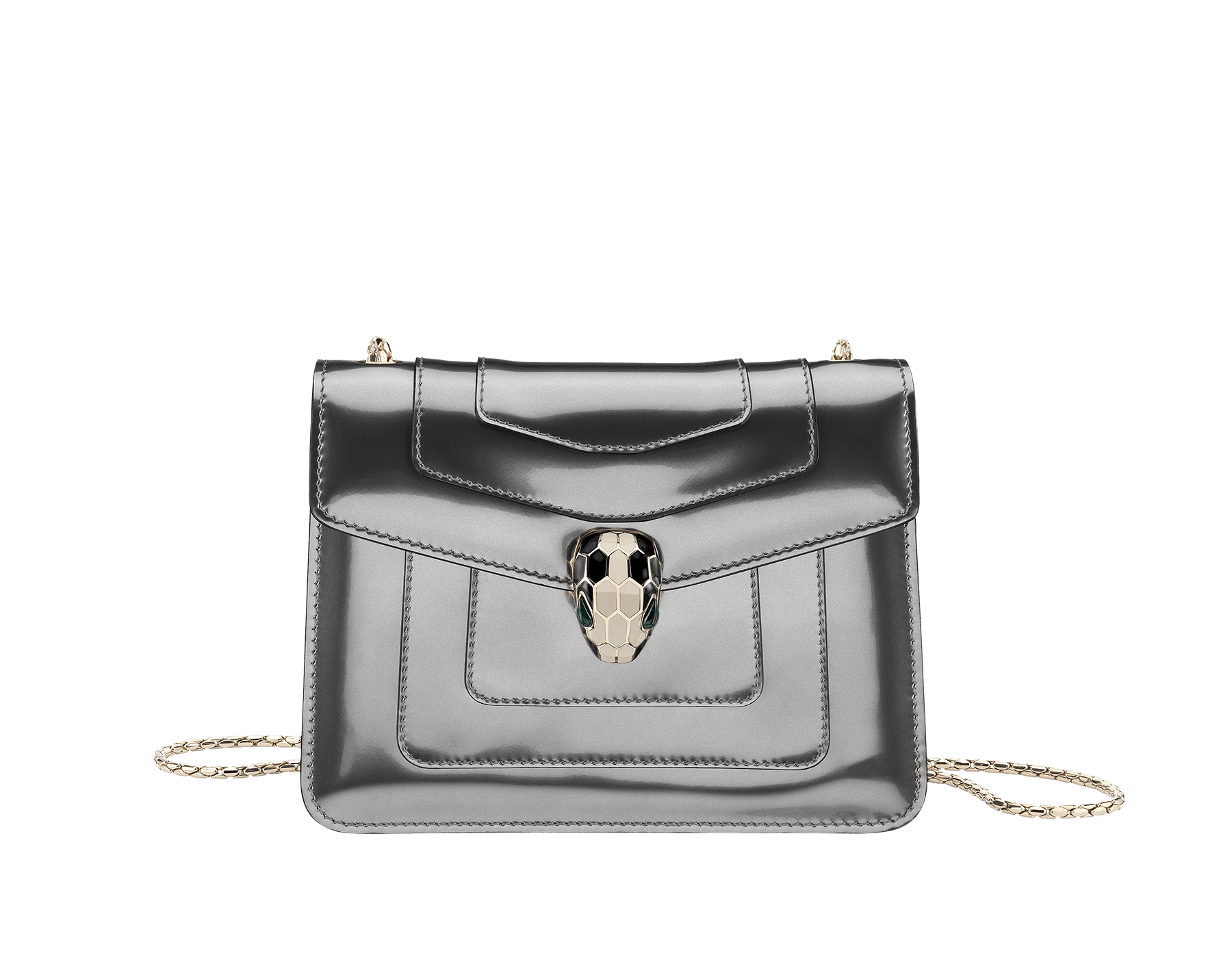 Flap cover bag Serpenti Forever in forest emerald brushed metallic calf leather. Brass light gold plated tempting snake head closure in black and white enamel, with eyes in green malachite. 422-BMCLa image 1