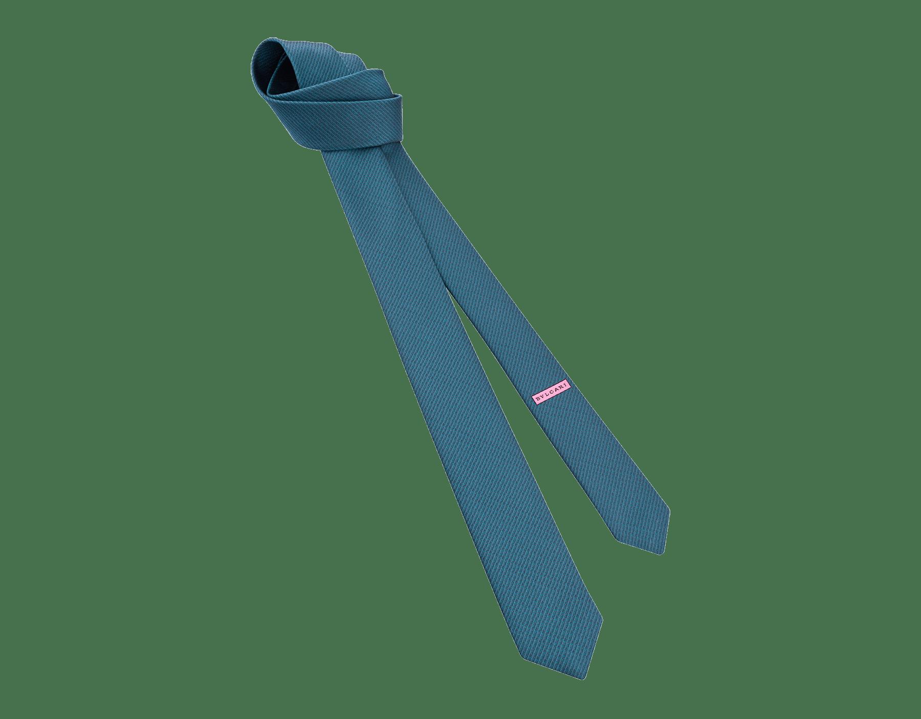 """Siebenfach gefaltete petrolblaue Krawatte mit """"Small Colours""""-Muster aus feinem Seidenjacquard. 244122 image 1"""