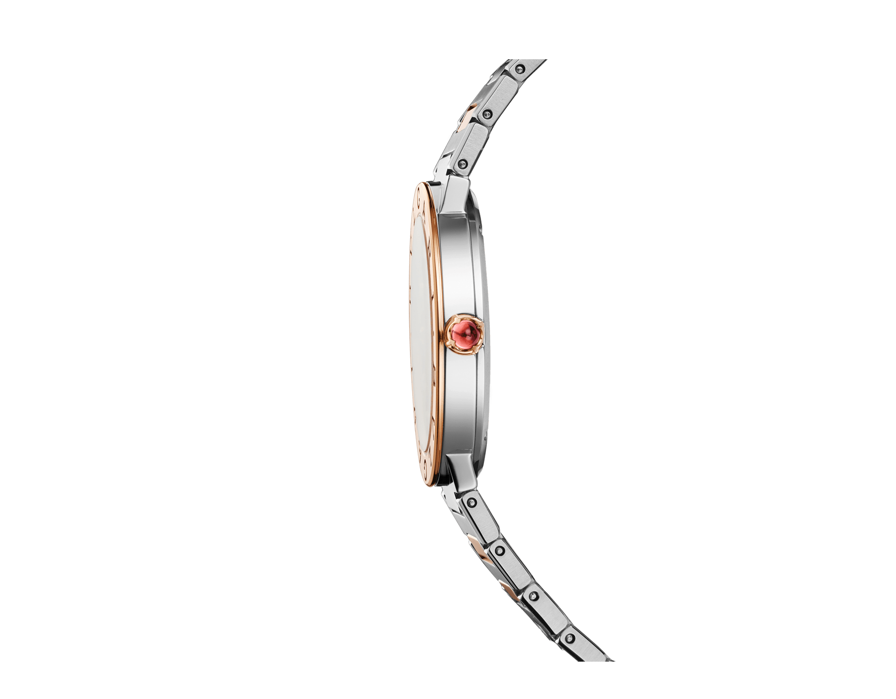 BVLGARI BVLGARI LADY watch with stainless steel case, 18 kt rose gold bezel engraved with double logo, white mother-of-pearl dial and 18 kt rose gold and stainless steel bracelet 102925 image 2