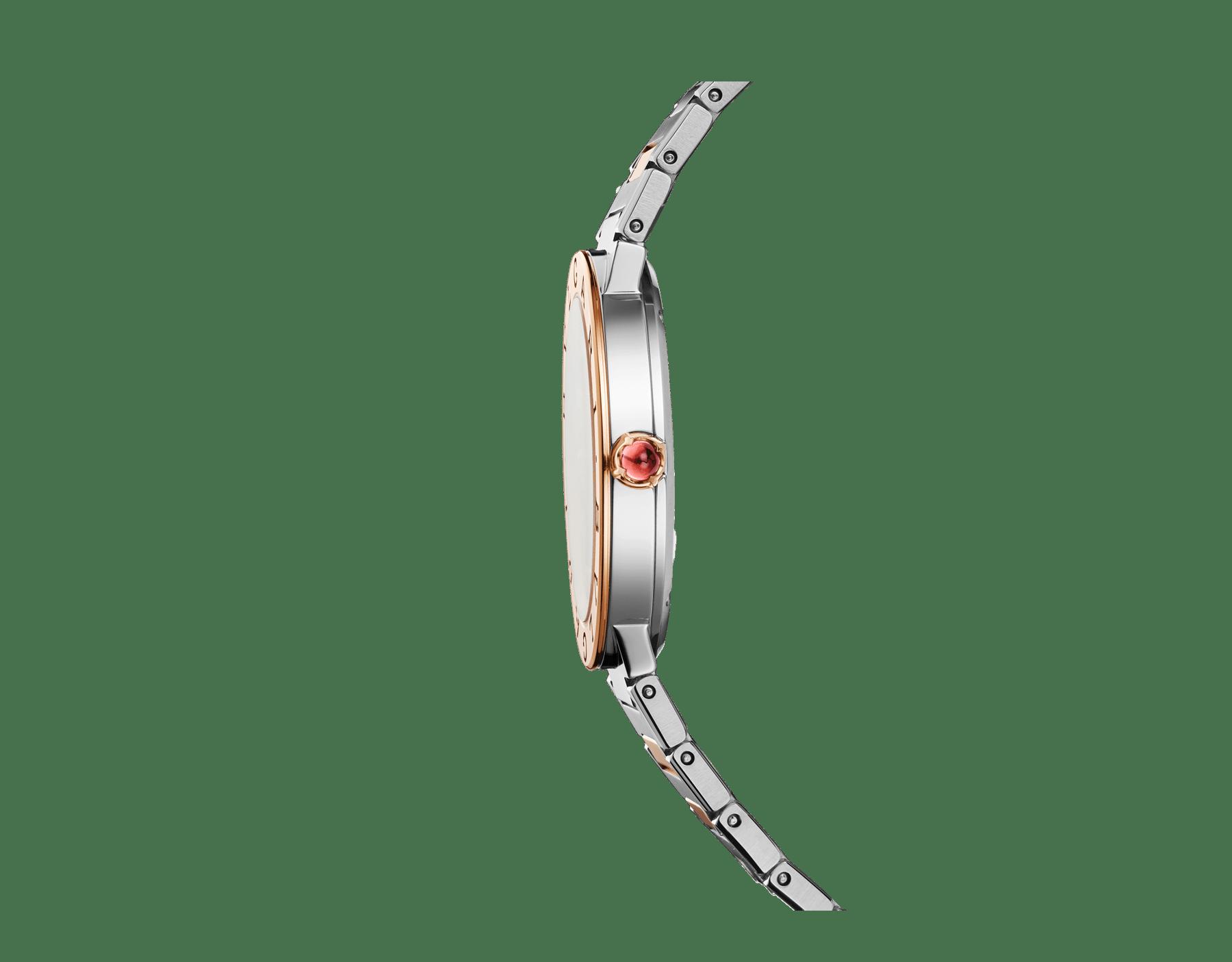 Reloj BVLGARI BVLGARI LADY con caja en acero inoxidable, bisel en oro rosa de 18qt grabado con el doble logotipo, esfera de madreperla blanca y brazalete en oro rosa de 18qt y acero inoxidable 102925 image 2