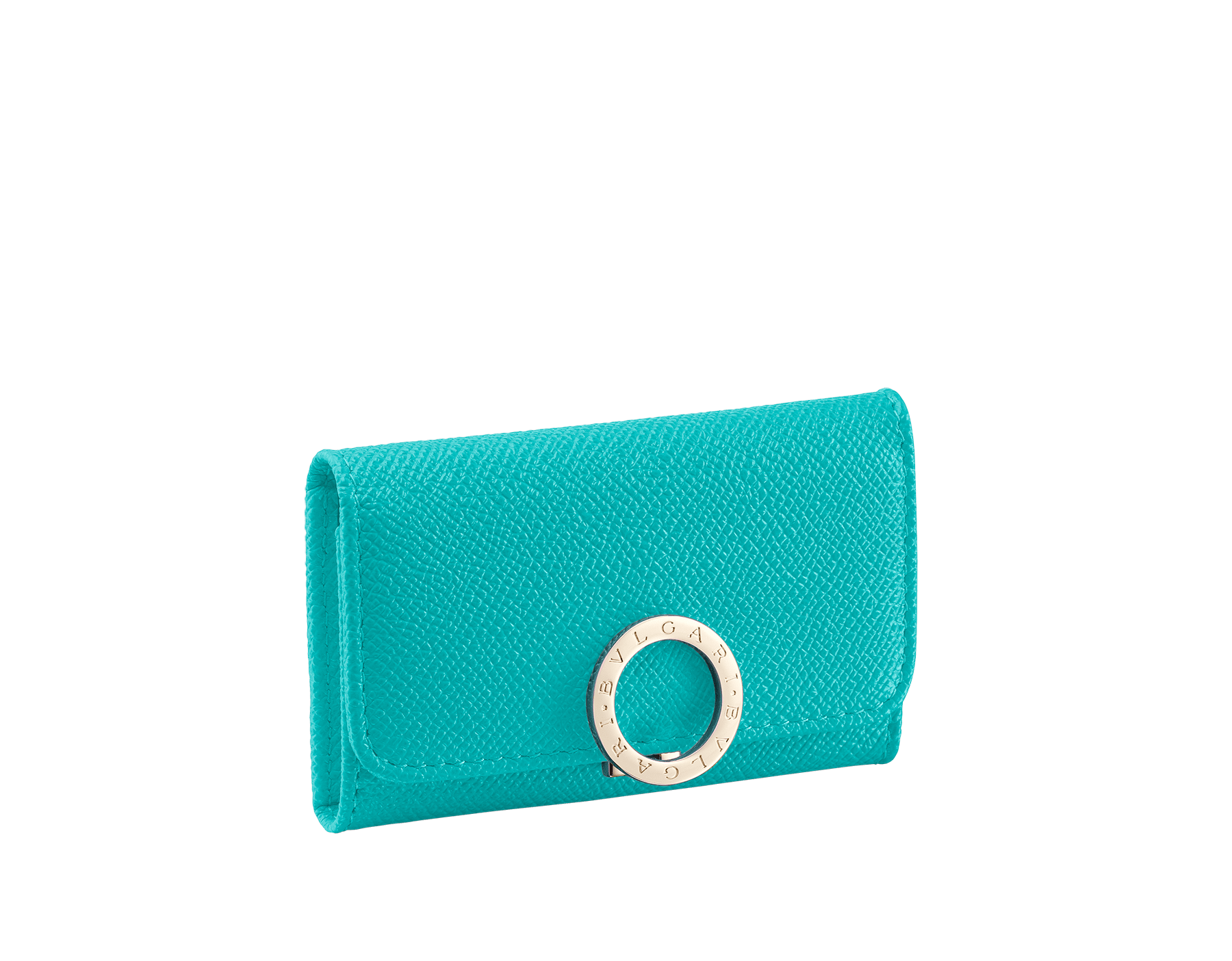 """""""BVLGARI BVLGARI"""" small key holder in Capri turquoise bright grain calf leather and black nappa leather. Iconic logo clip closure in light gold plated brass. 579-KEYHOLDER-Sb image 1"""