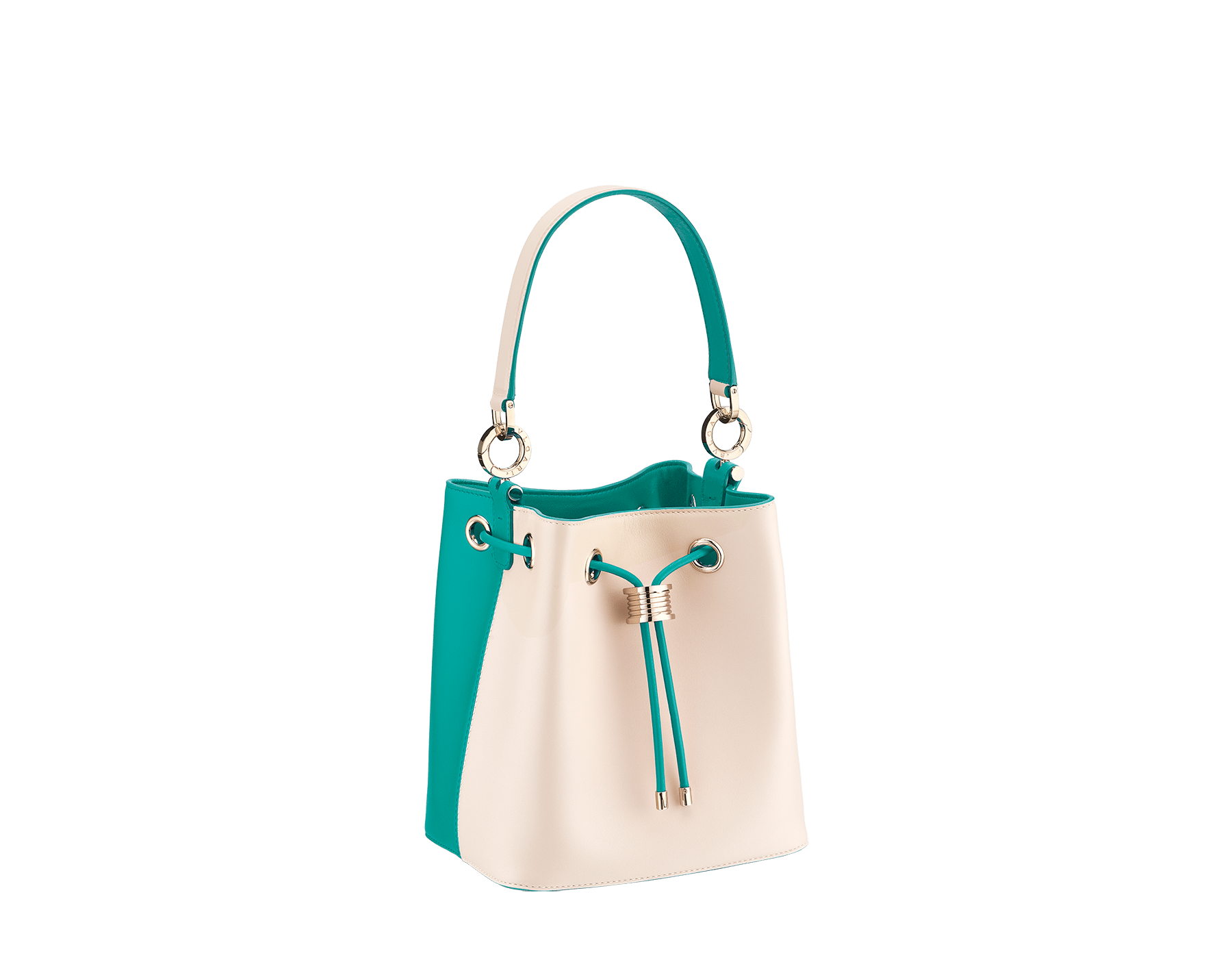 Bucket B.zero1 in milky opal and tropical turquoise smooth calf leather and tropical turquoise nappa lining. Hardware in light gold-plated brass, featuring a B.zero1 décor. 288209 image 2