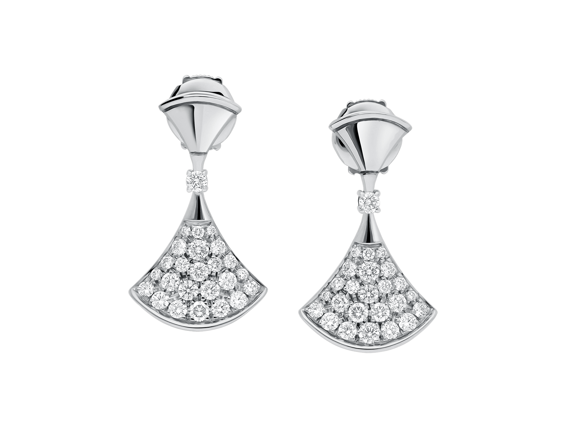 DIVAS' DREAM earrings in 18 kt white gold set with a diamond and pavé diamonds. 351100 image 2