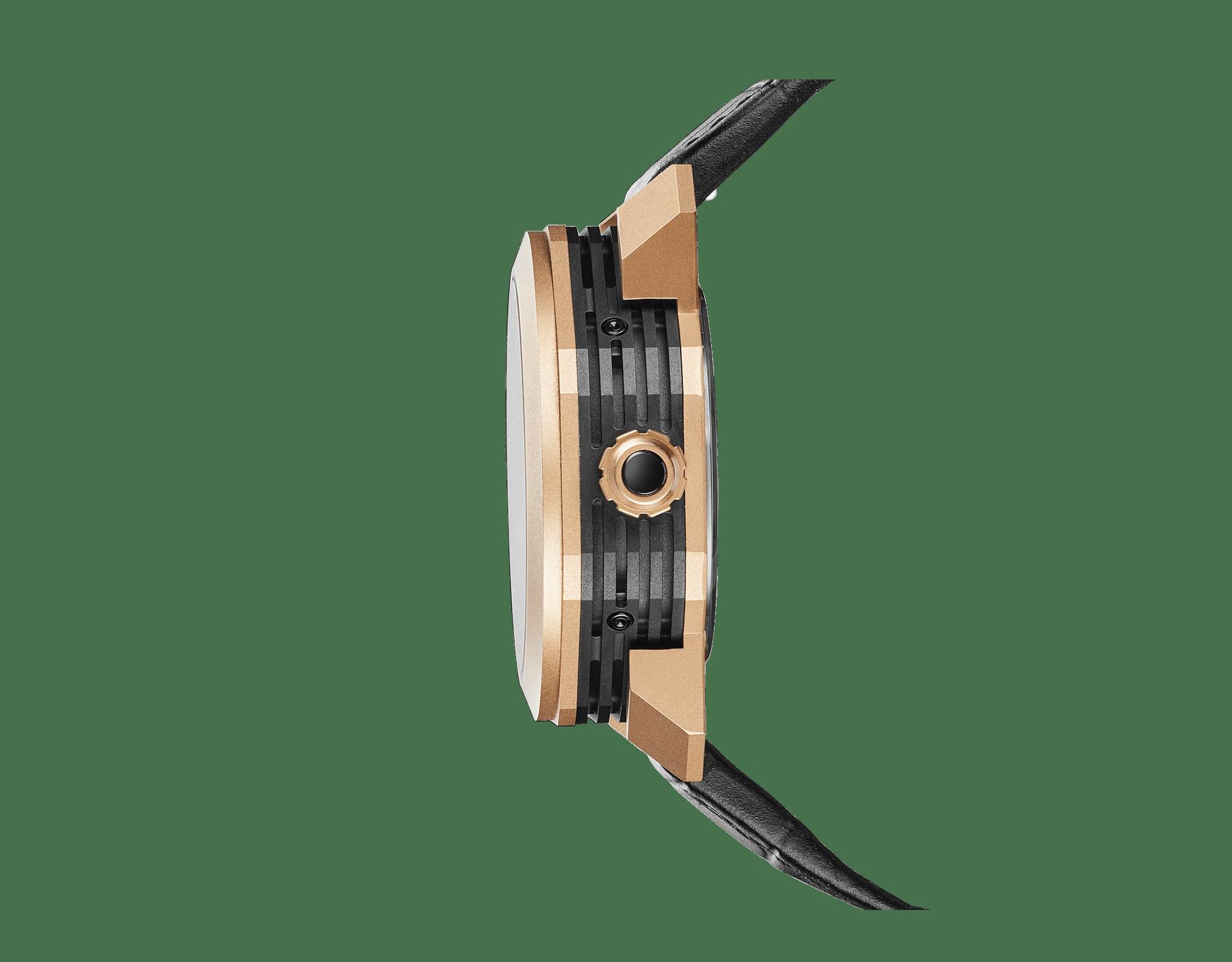Relógio Octo Grande Sonnerie com movimento de manufatura mecânico, Grande e Petite Sonnerie, repetidor de minutos, turbilhão, calendário perpétuo, fases da lua, indicação de reserva de marcha para movimento e carrilhão, caixa em ouro rosa 18K jateado, mostrador esqueletizado e pulseira em couro de jacaré preto 102891 image 3