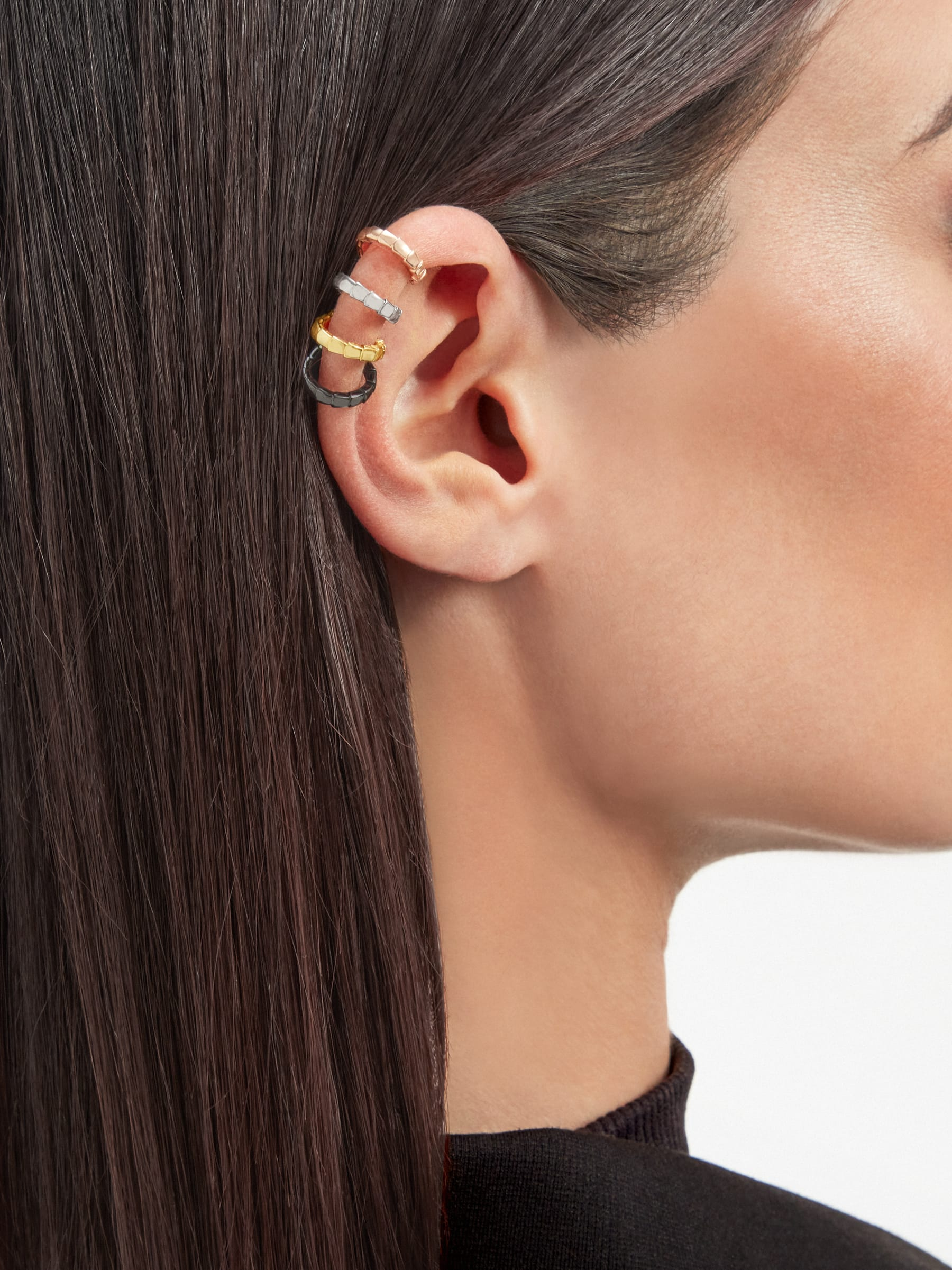 Serpenti Viper single earring in 18 kt rose, white and yellow gold, and black rhodium 356173 image 3