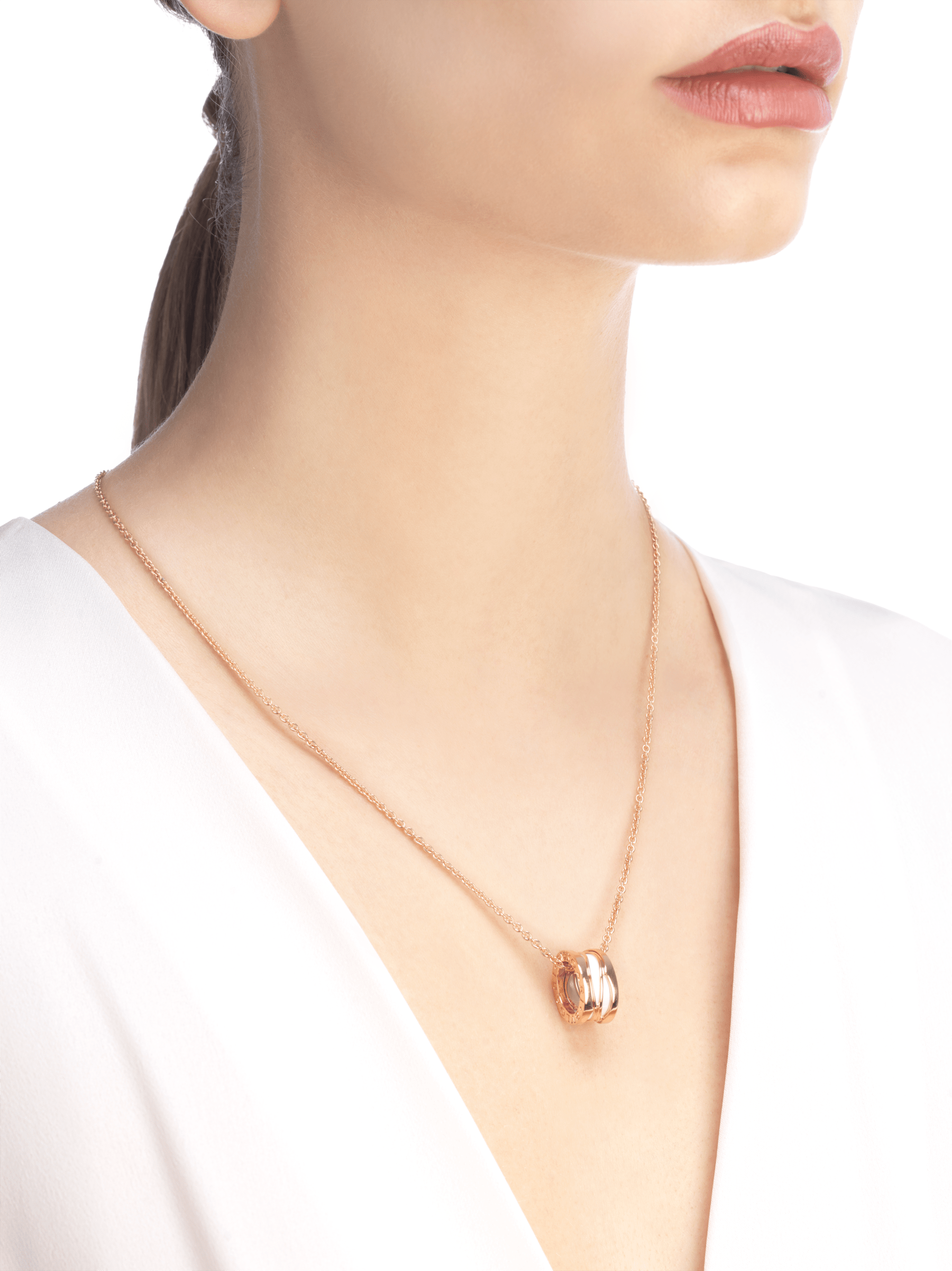 B.zero1 Design Legend necklace with 18 kt rose gold chain and pendant in 18 kt rose gold and white ceramic 356117 image 4