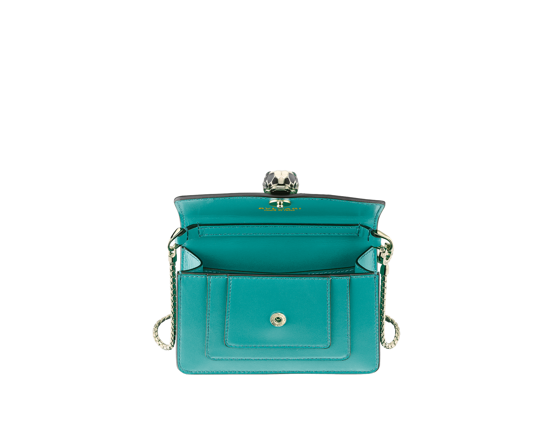 Bag charm Serpenti Forever miniature in arctic jade calf leather and red nappa lining. Iconic brass light gold plated snakehead stud closure enameled in black and white agate and finished with green enamel eyes. 289254 image 2