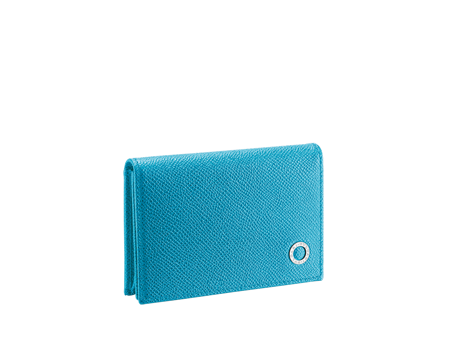 """""""BVLGARI BVLGARI"""" business card holder in capri turquoise and royal sapphire grain calf leather, with brass palladium plated logo décor. BBM-BC-HOLD-SIMPLEb image 1"""
