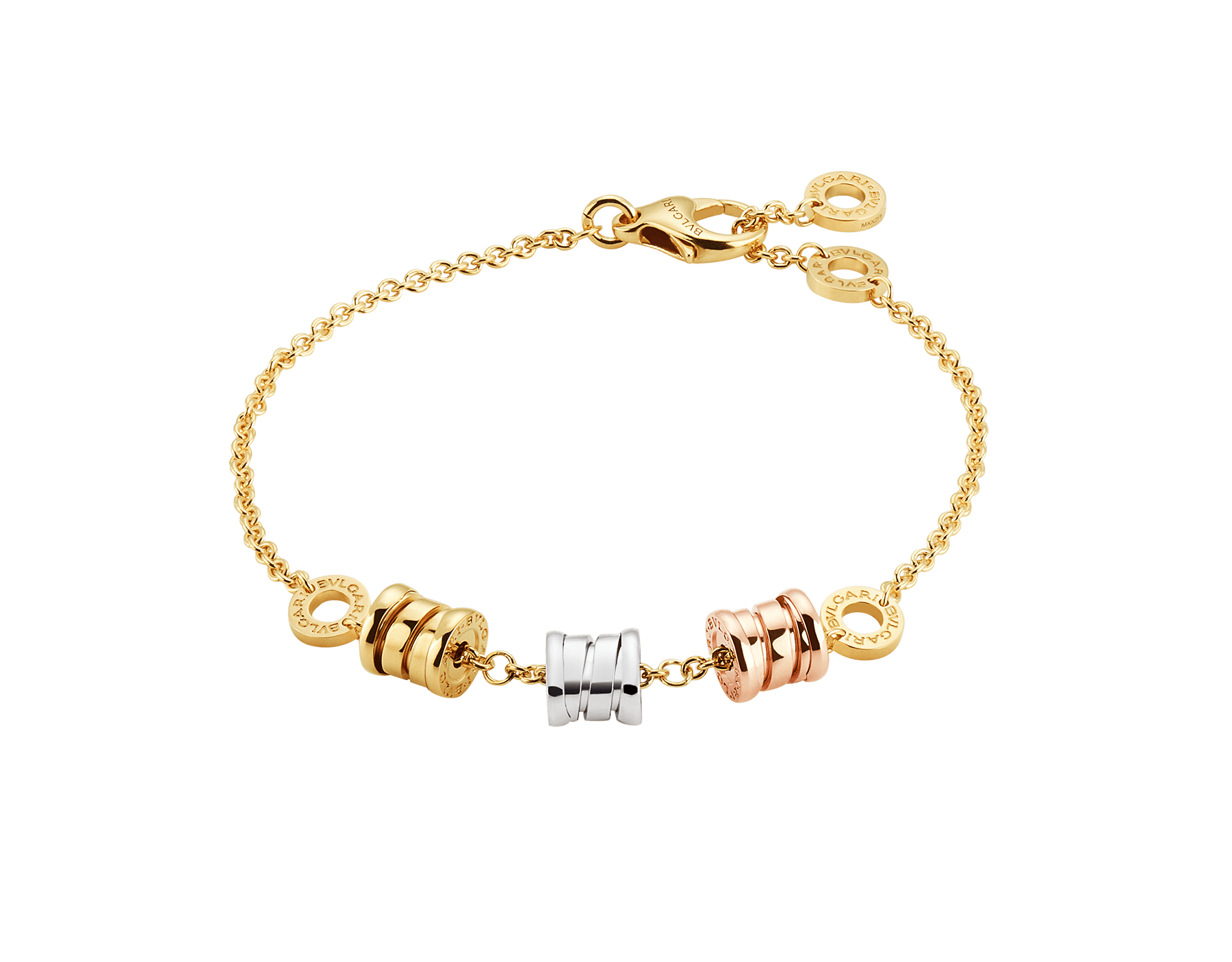 B.zero1 soft bracelet with 18 kt yellow gold chain and three spirals in yellow, white and rose 18 kt gold. BR853666 image 1