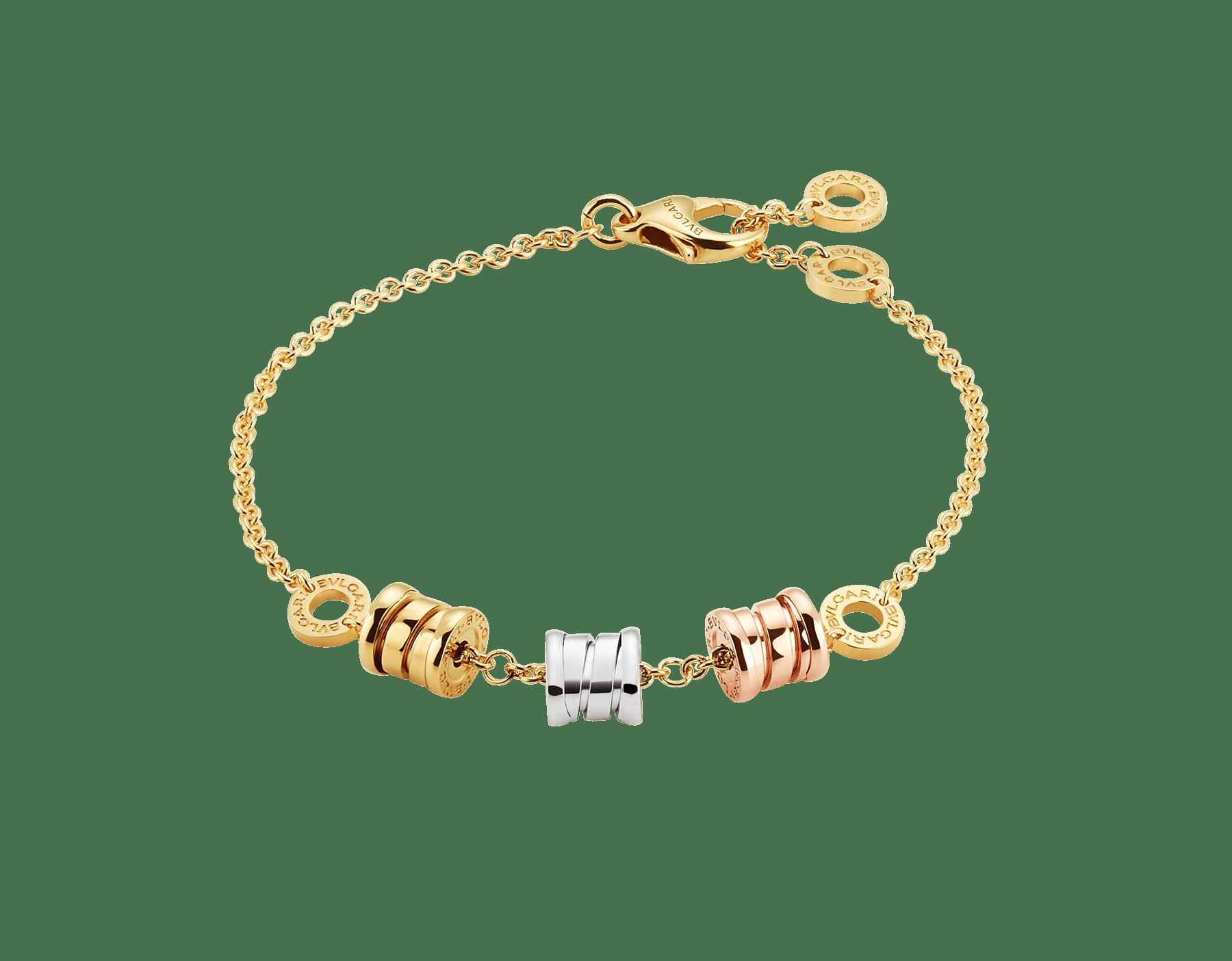 Con tres espirales en todos los colores del oro alrededor de una cadena flexible, la pulsera B.zero1 revela su espíritu contemporáneo con un distintivo diseño e insólitas combinaciones de color. BR853666 image 1