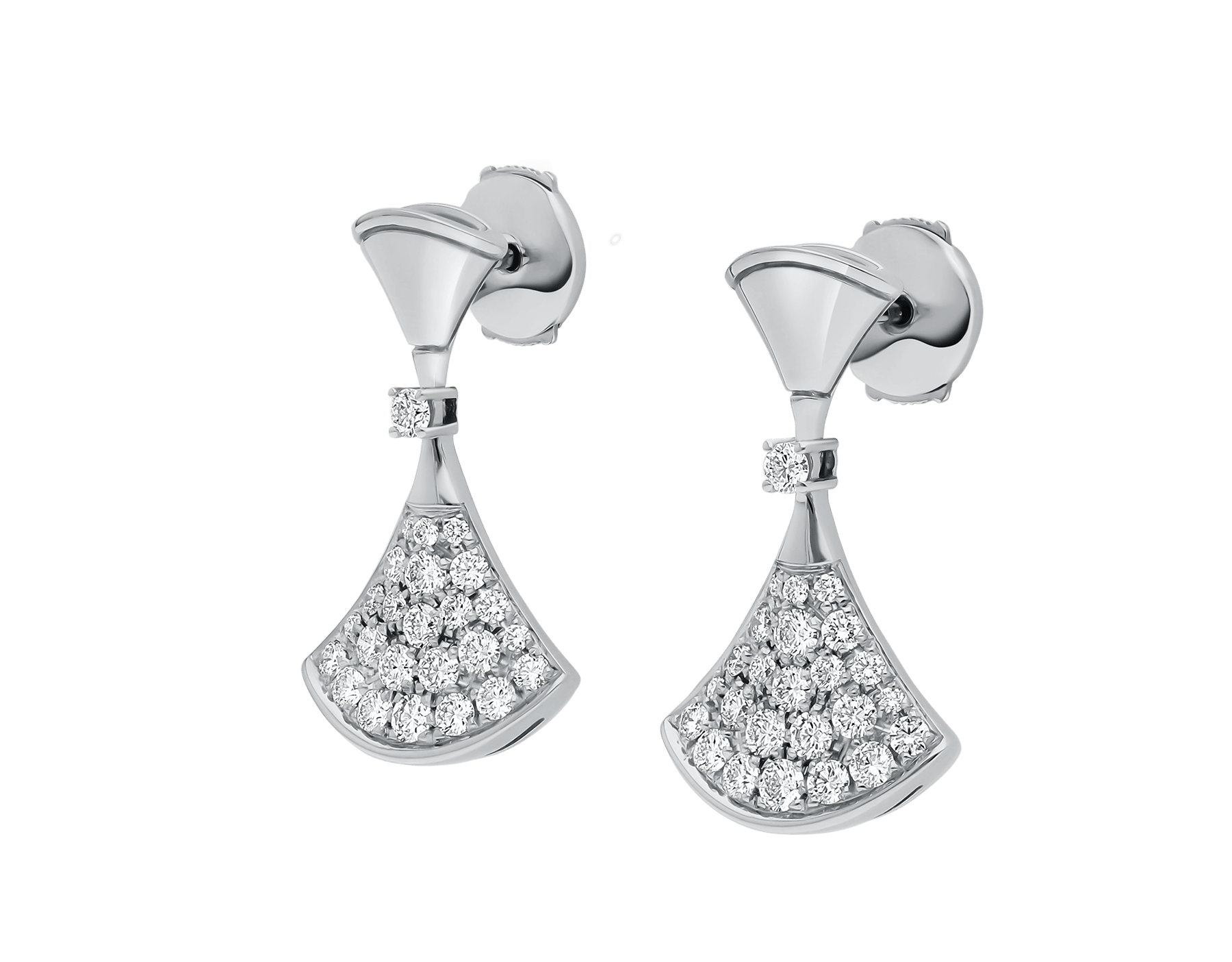 DIVAS' DREAM earrings in 18 kt white gold set with a diamond and pavé diamonds. 351100 image 3