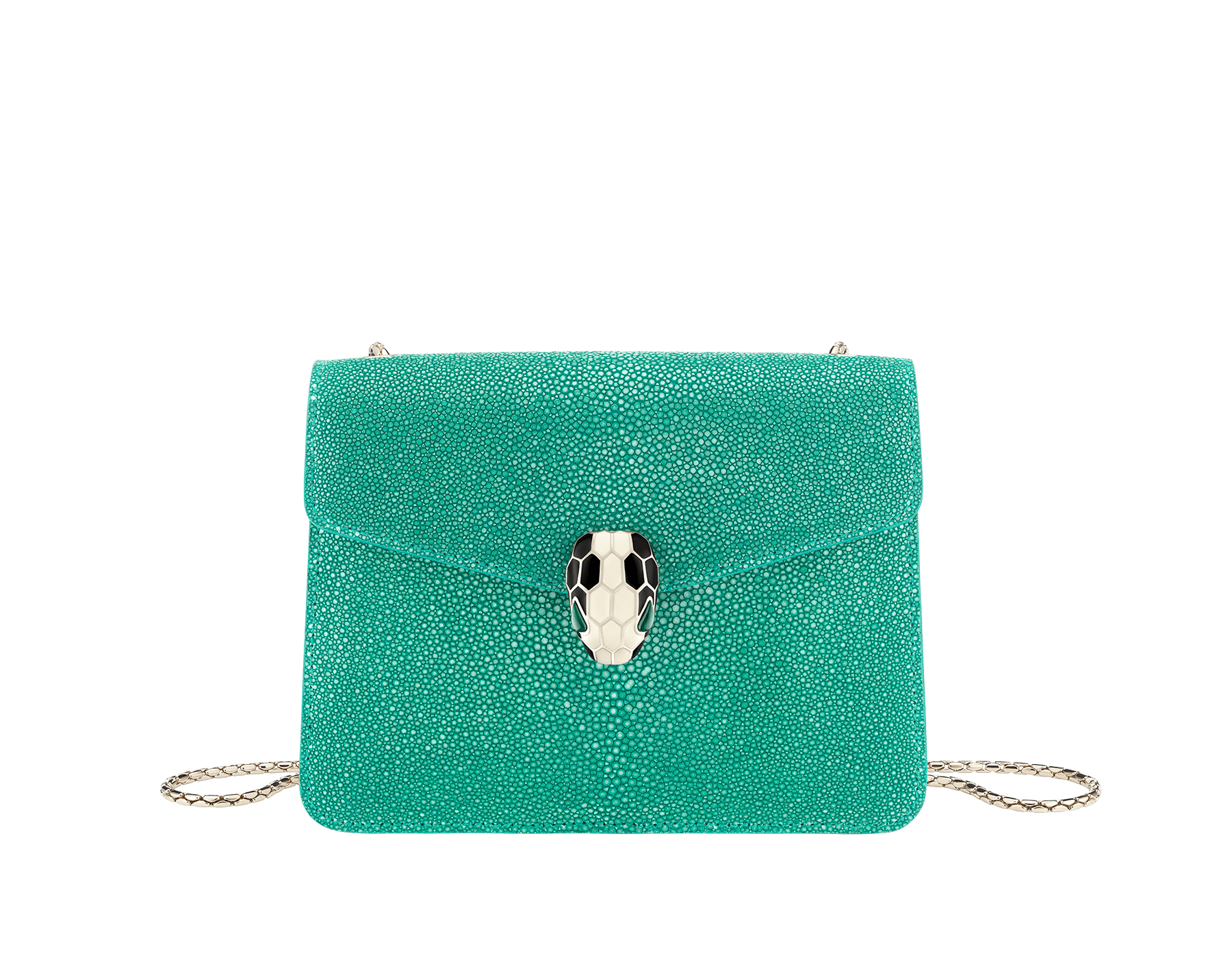 Serpenti Forever crossbody bag in tropical turquoise galuchat skin. Snakehead closure in light gold plated brass decorated with black and white enamel, and green malachite eyes. 288067 image 1