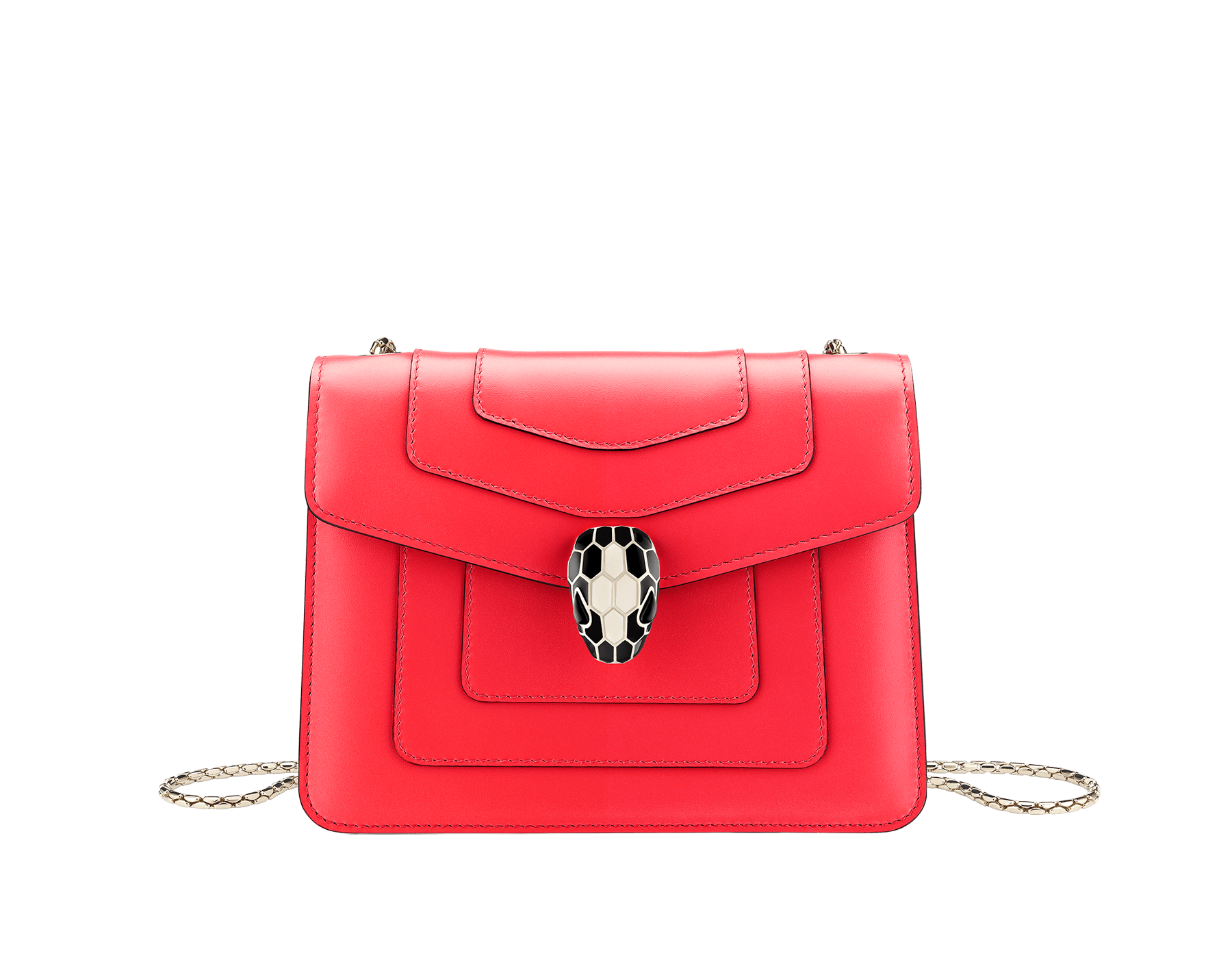 Serpenti Forever crossbody bag in sea star coral smooth calf leather body and milky opal calf leather sides. Snakehead closure in light gold plated brass decorated with milky opal and black enamel, and black onyx eyes. 287959 image 1