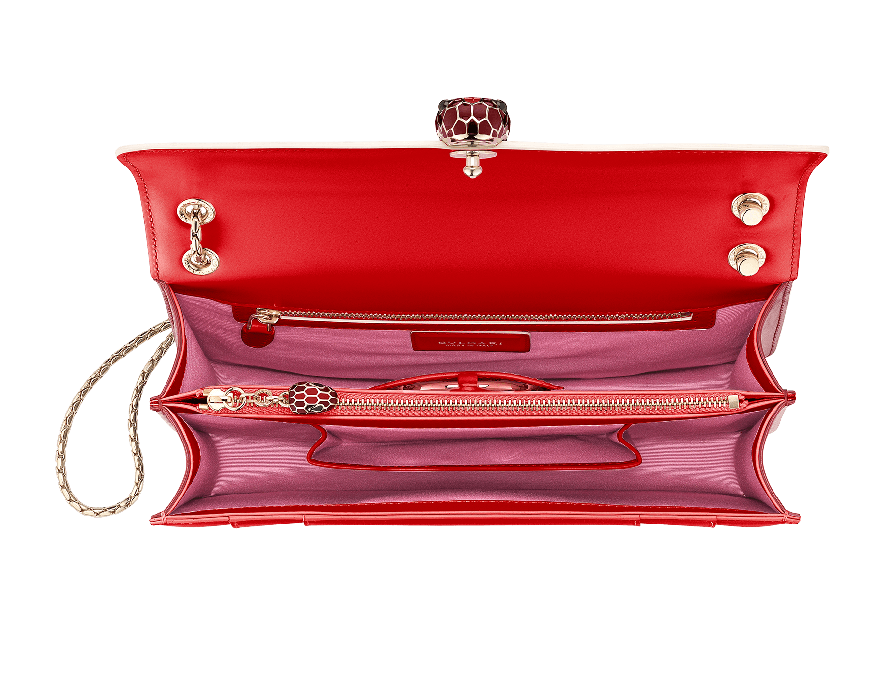 """Serpenti Forever"" shoulder bag in white agate calf leather body and ruby red calf leather sides. Iconic snakehead closure in light gold plated brass enriched with ruby red and white agate enamel and black onyx eyes. 521-BCL image 4"