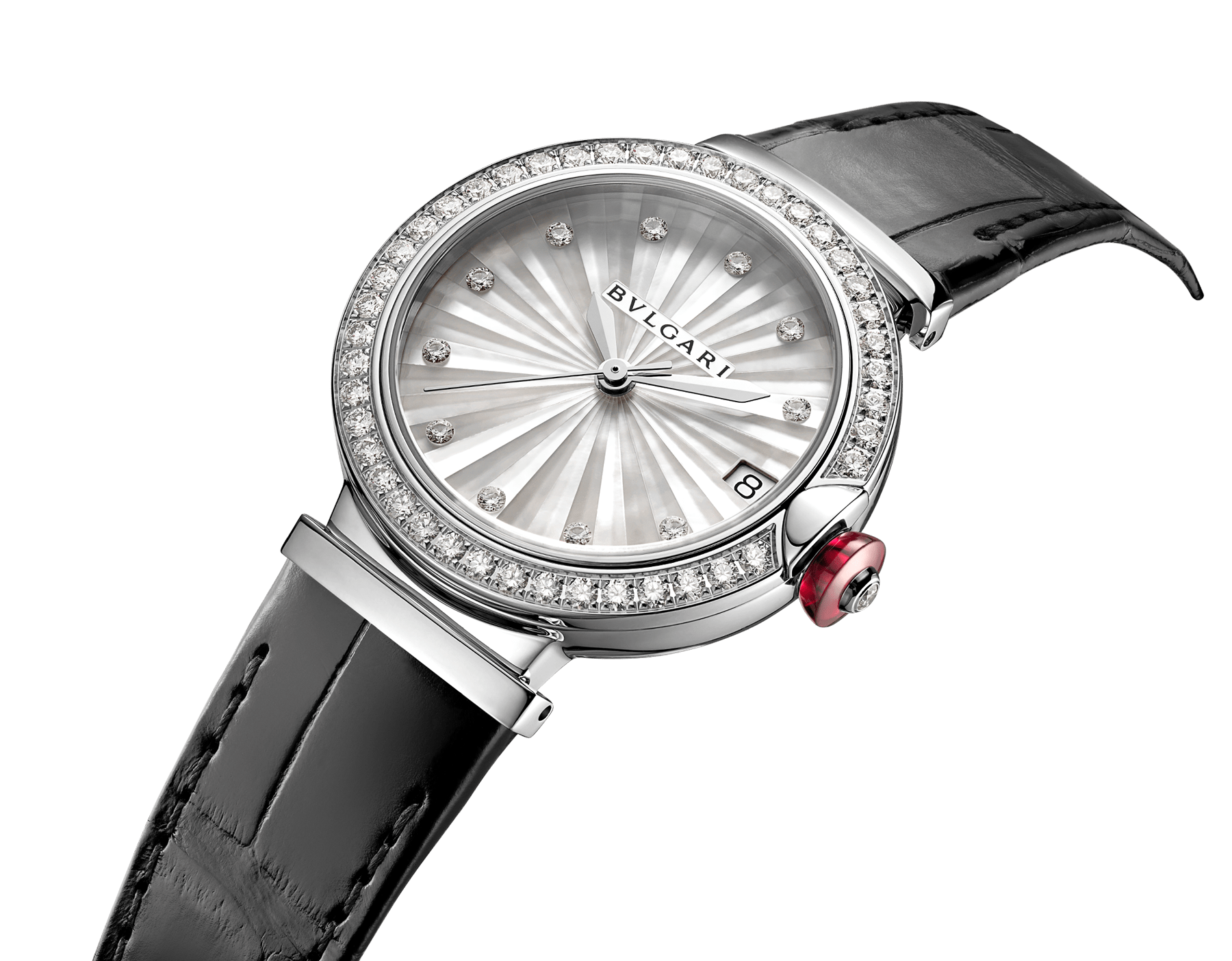 LVCEA watch with polished stainless steel case set with diamonds, white mother-of-pearl intarsia marquetry dial, 11 diamond indexes and black alligator bracelet 103476 image 2