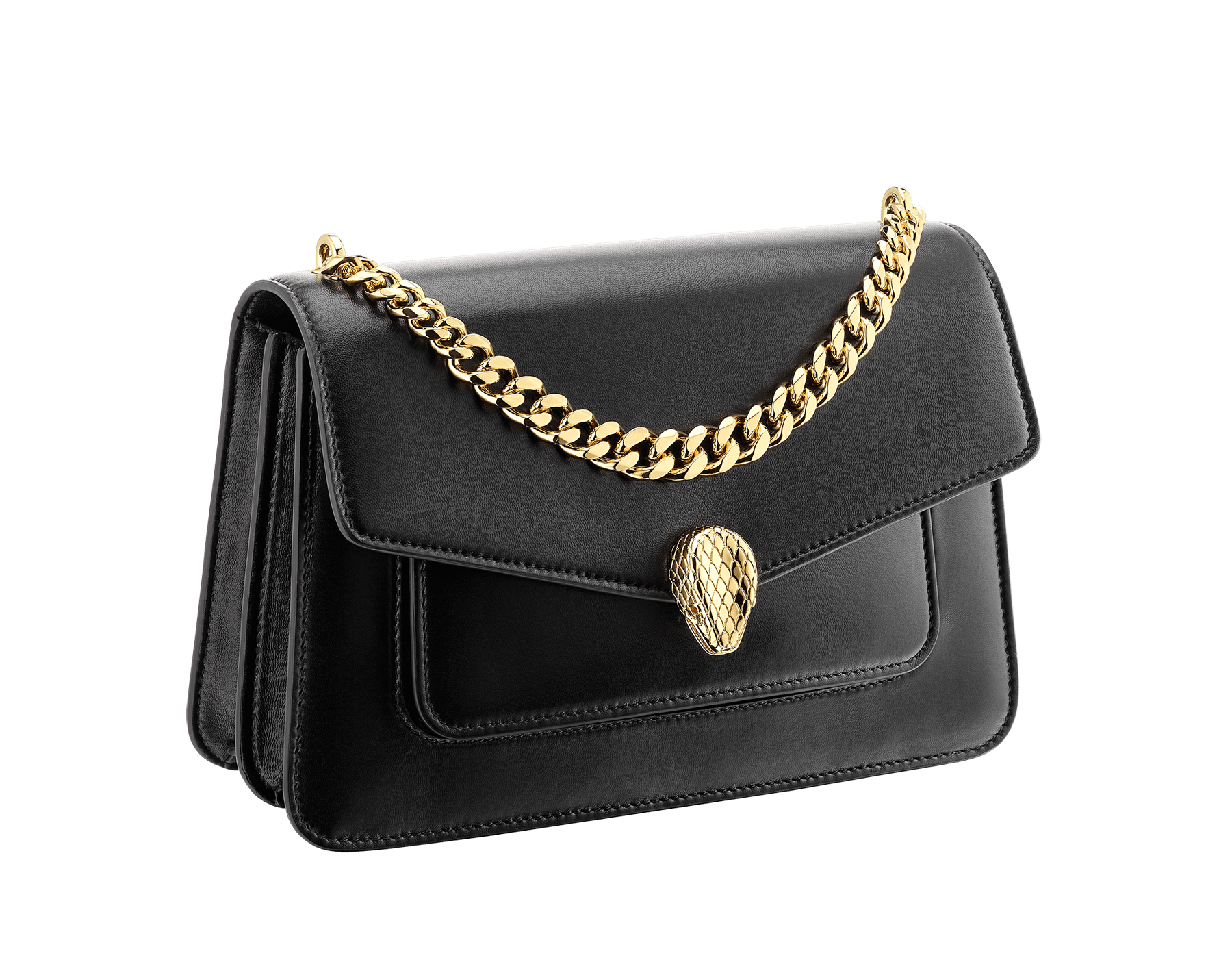 """""""Serpenti Forever"""" maxi chain crossbody bag in black nappa leather, with black nappa leather internal lining. New Serpenti head closure in gold-plated brass, finished with red enamel eyes. 290945 image 2"""