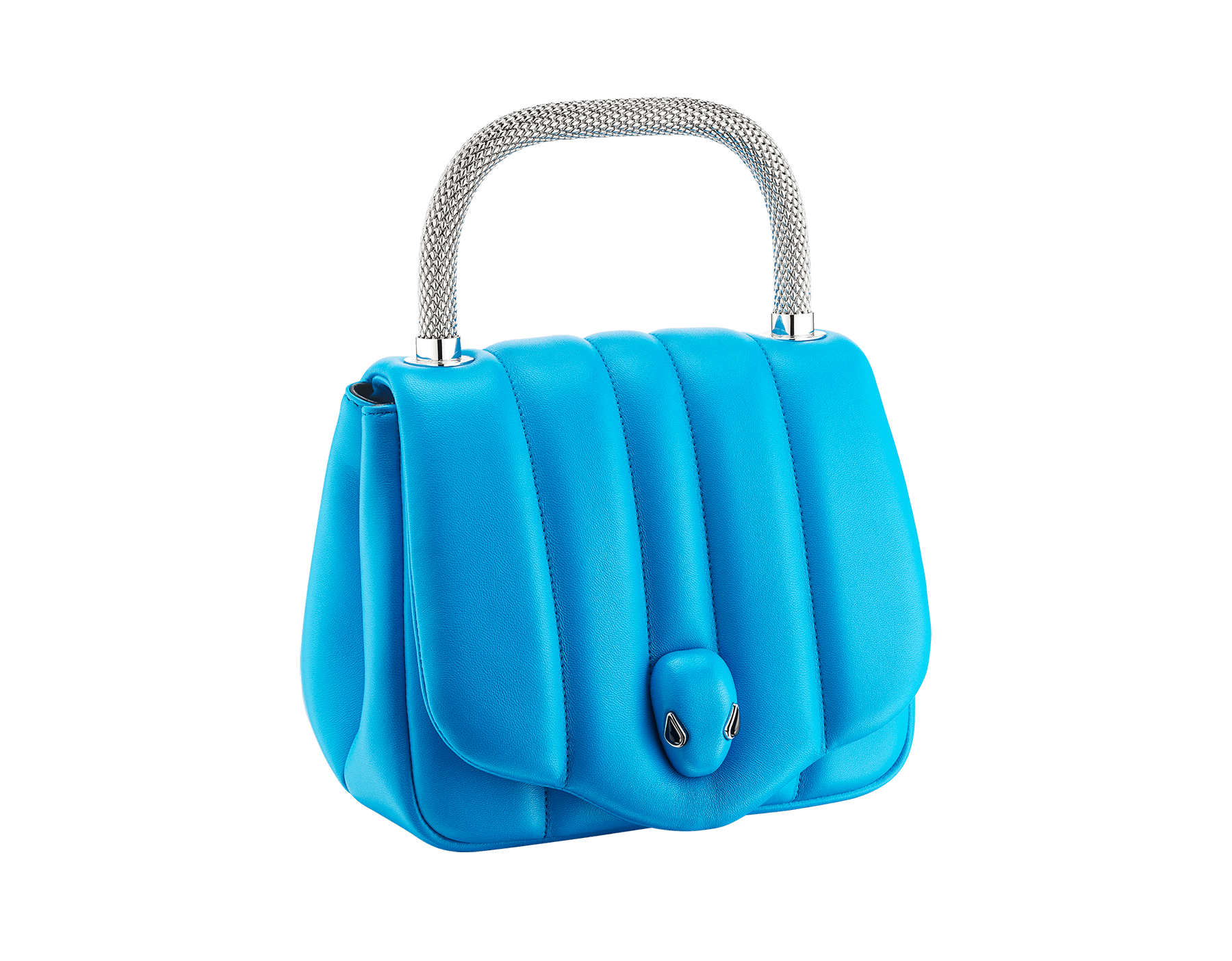 """Ambush x Bvlgari"" top handle bag in bright blue nappa leather. New Serpenti head closure in palladium plated brass dressed with bright blue nappa leather, finished with seductive black onyx eyes. Limited edition. 290344 image 2"